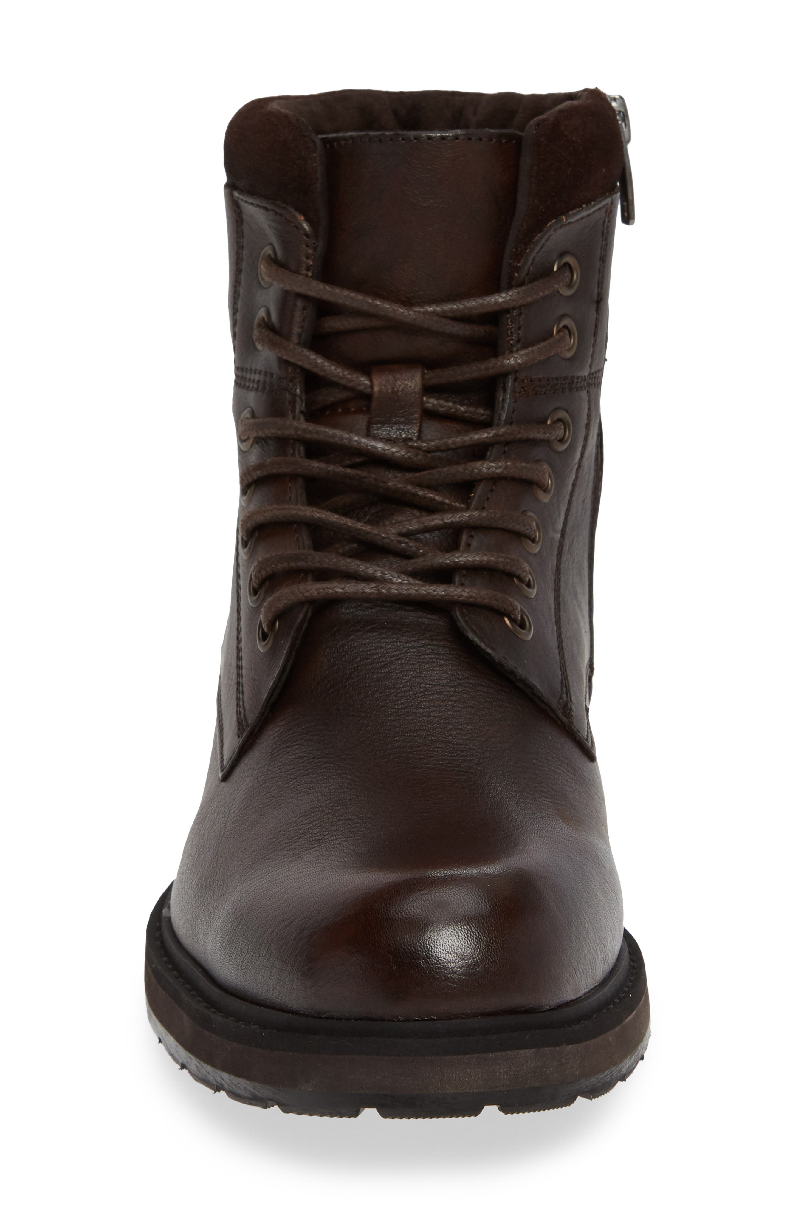 REACTION KENNETH COLE, Drue Pebbled Combat Boot, Alternate thumbnail 4, color, BROWN LEATHER