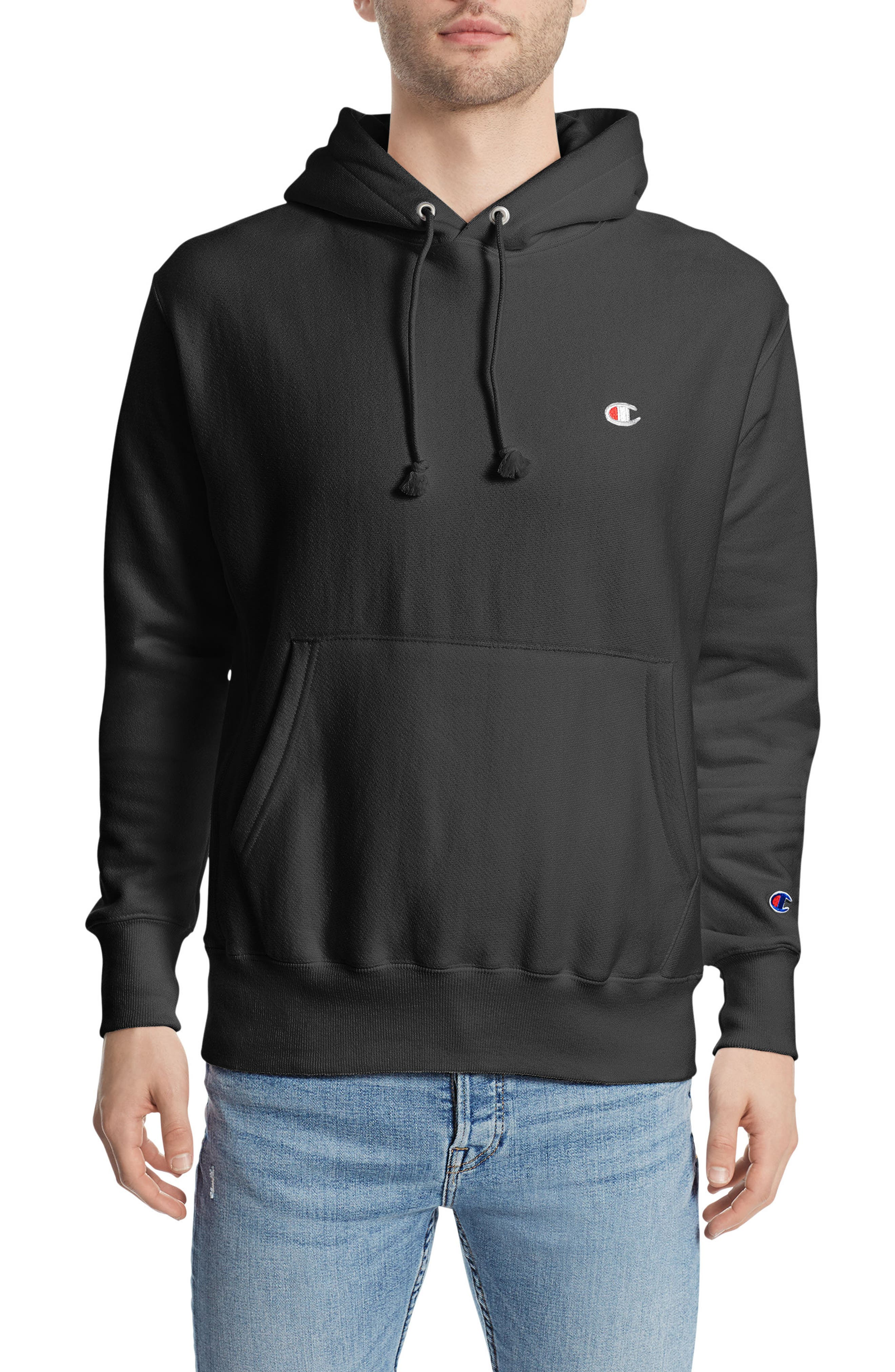 CHAMPION, Reverse Weave<sup>®</sup> Pullover Hoodie, Main thumbnail 1, color, BLACK