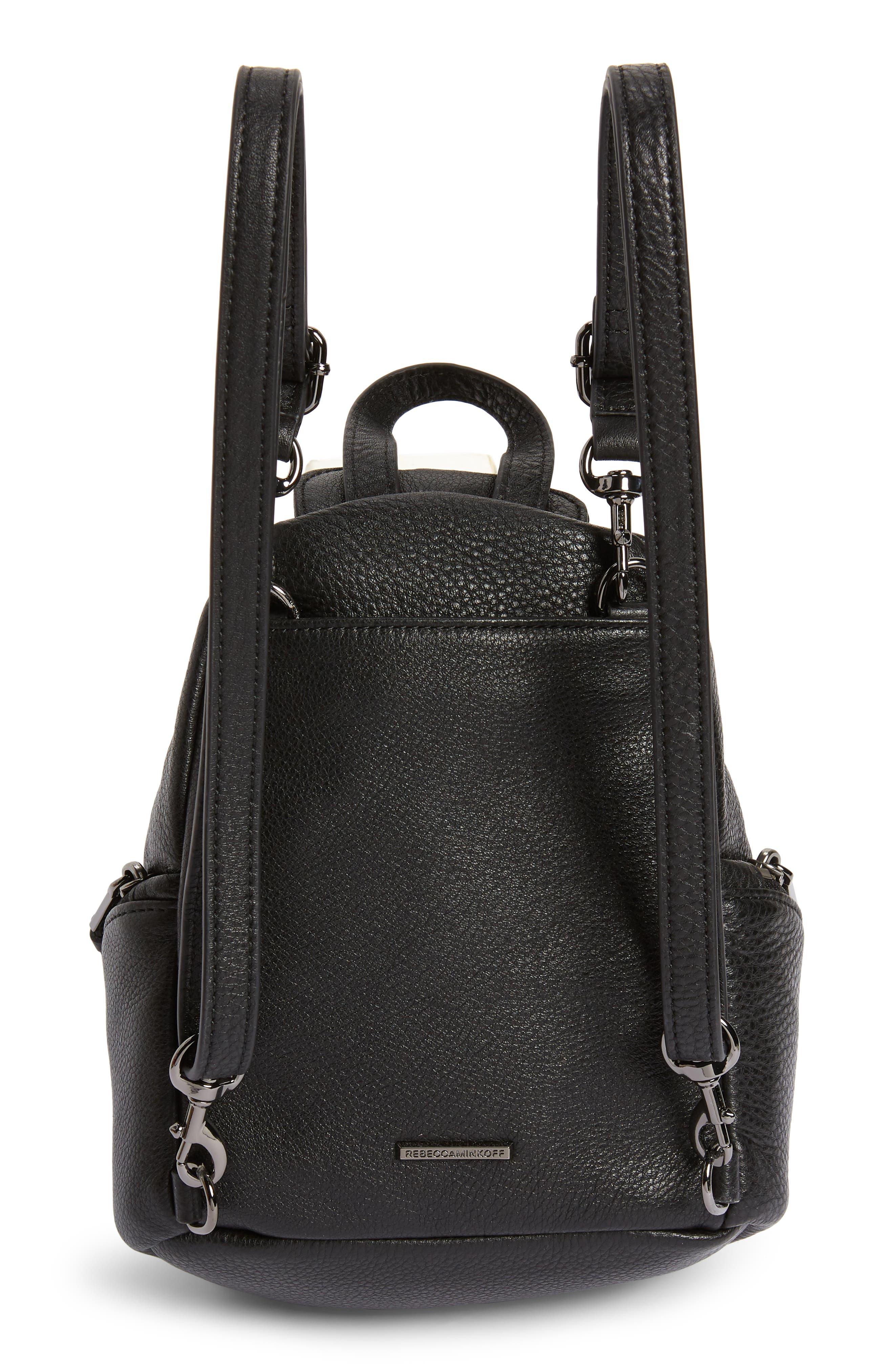 REBECCA MINKOFF, Mini Julian Pebbled Leather Convertible Backpack, Alternate thumbnail 5, color, BLACK