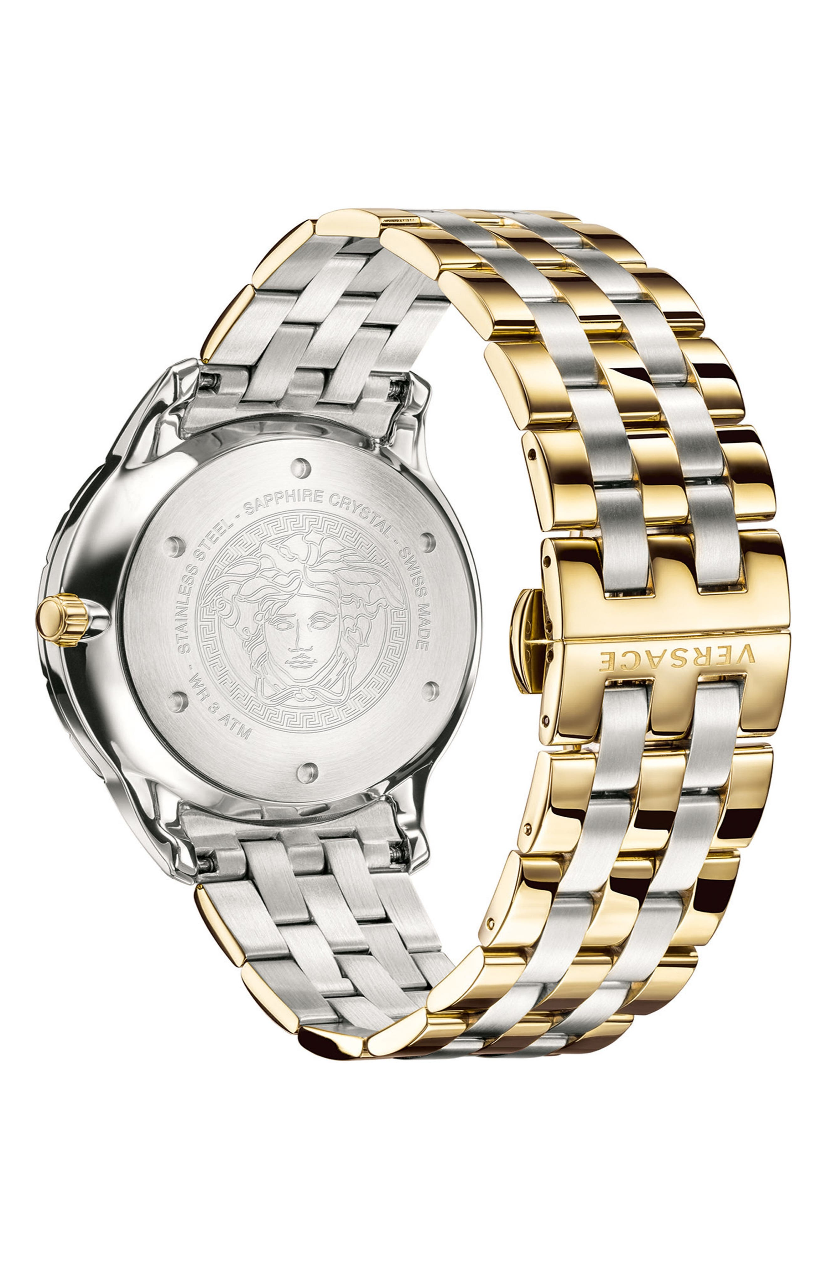 VERSACE, Univers Bracelet Watch, 43mm, Alternate thumbnail 2, color, SILVER/ GREEN/ GOLD