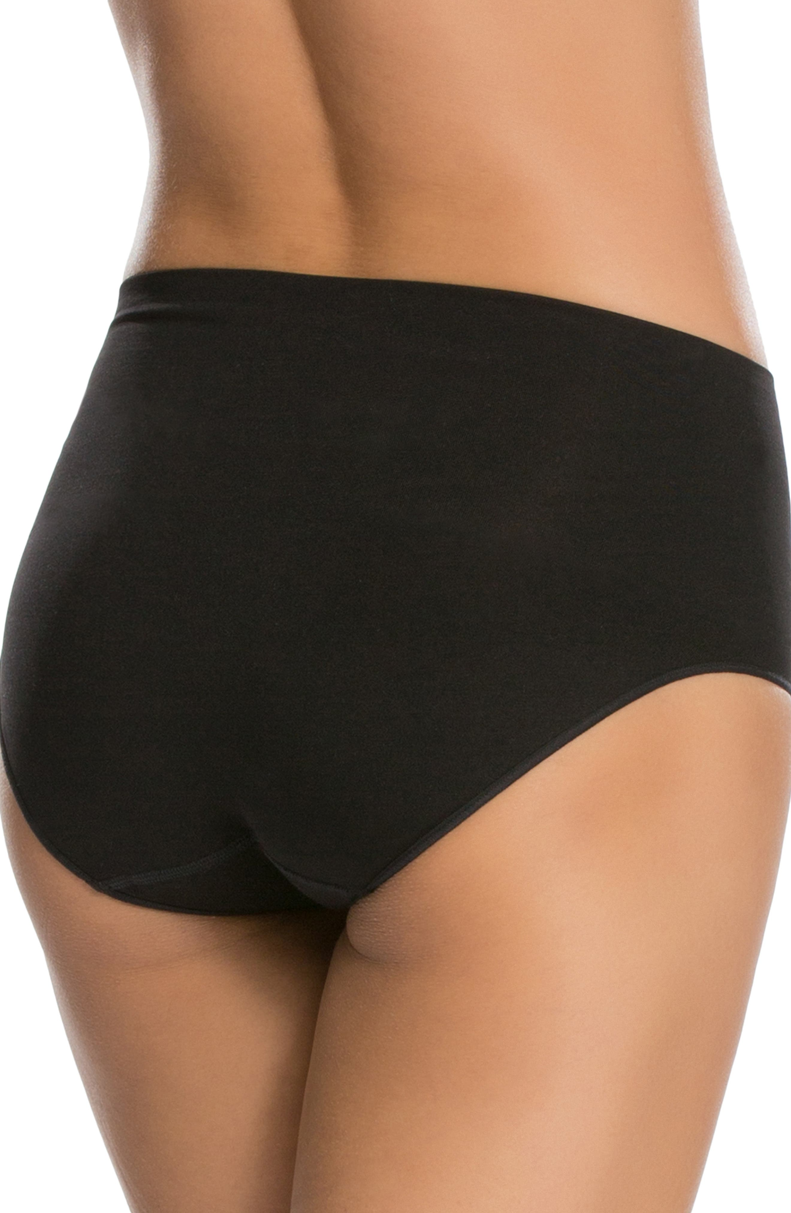 SPANX<SUP>®</SUP>, 'Everyday Shaping Panties' Briefs, Alternate thumbnail 2, color, BLACK