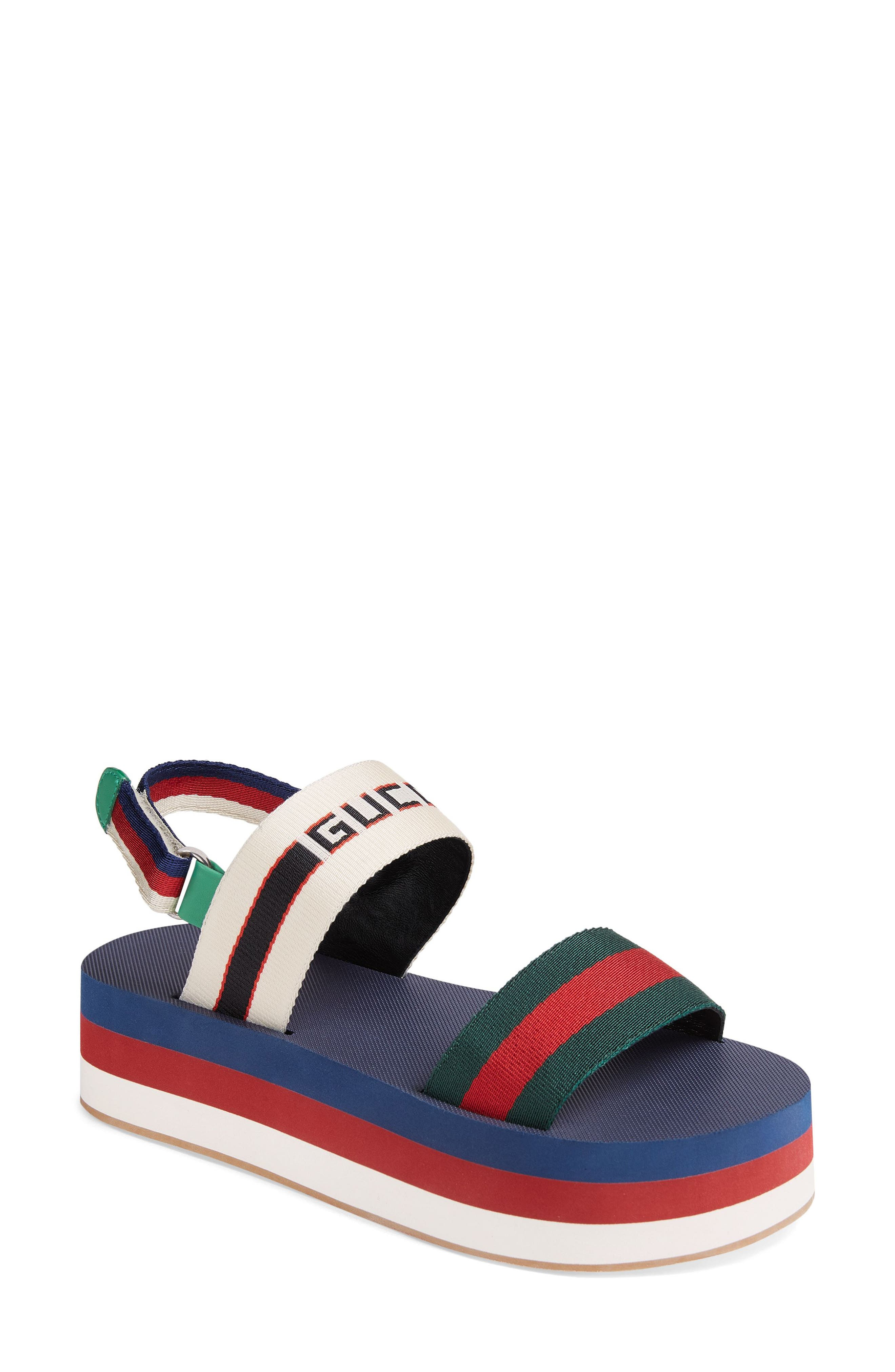GUCCI, Bedlam Slingback Flatform Sandal, Main thumbnail 1, color, BLUE/ RED