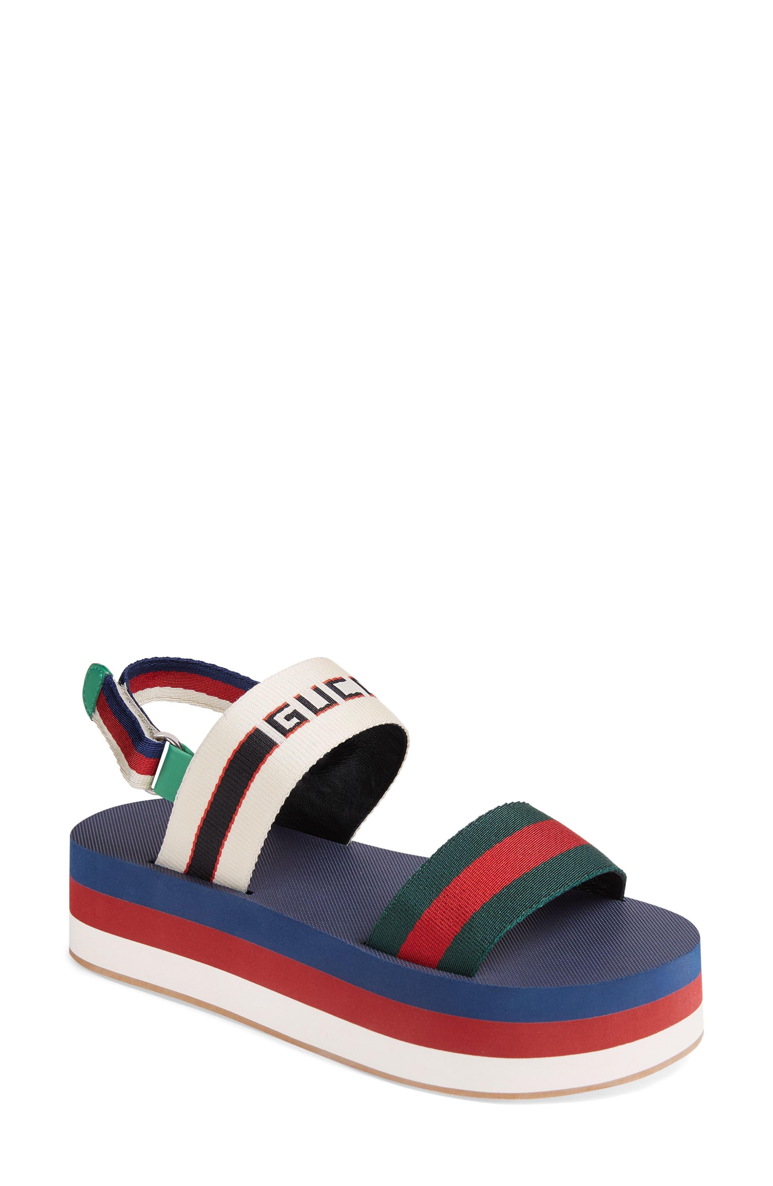 GUCCI Bedlam Slingback Flatform Sandal, Main, color, BLUE/ RED