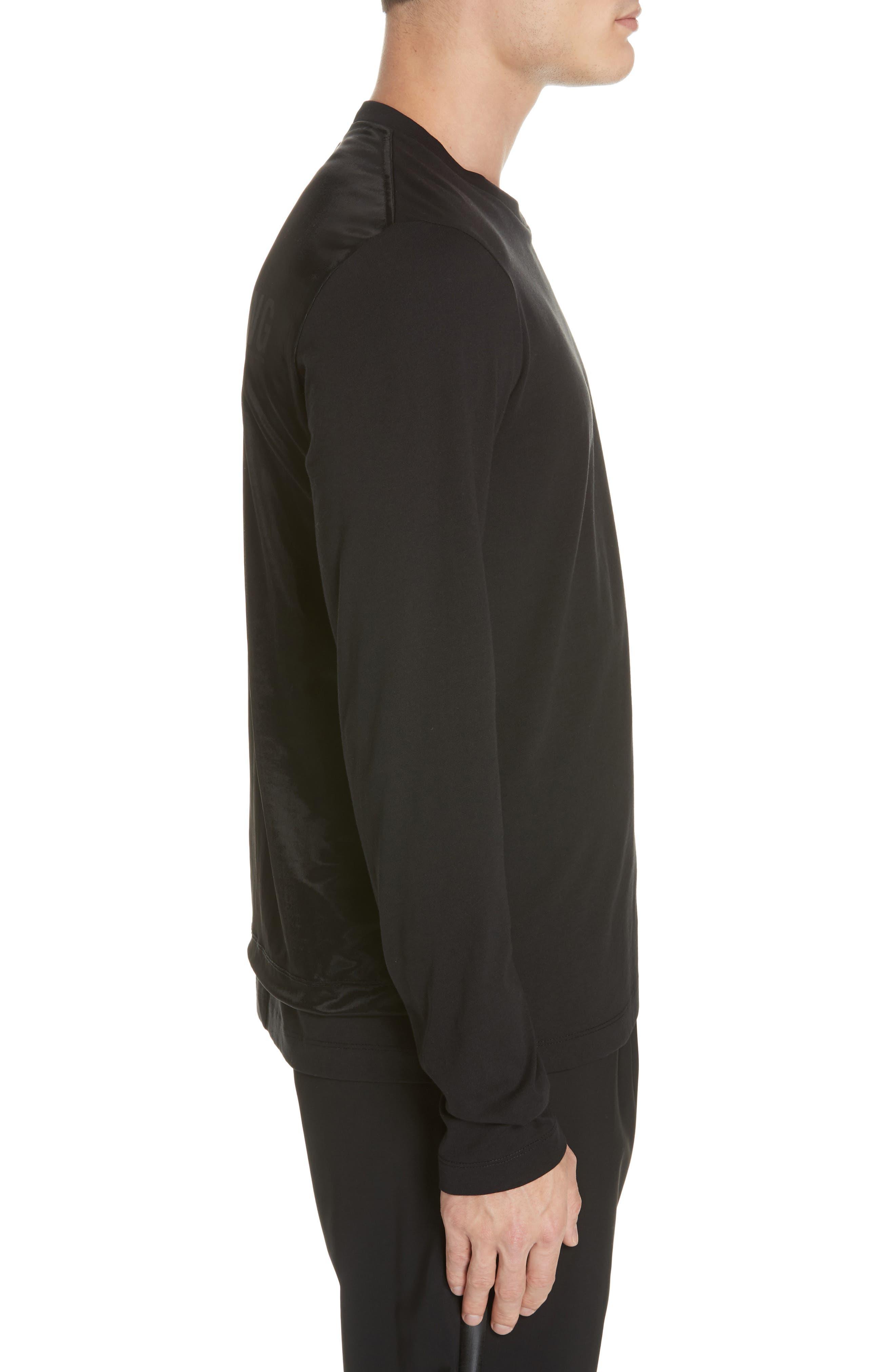 HELMUT LANG, Overlay Long Sleeve T-Shirt, Alternate thumbnail 3, color, BLACK