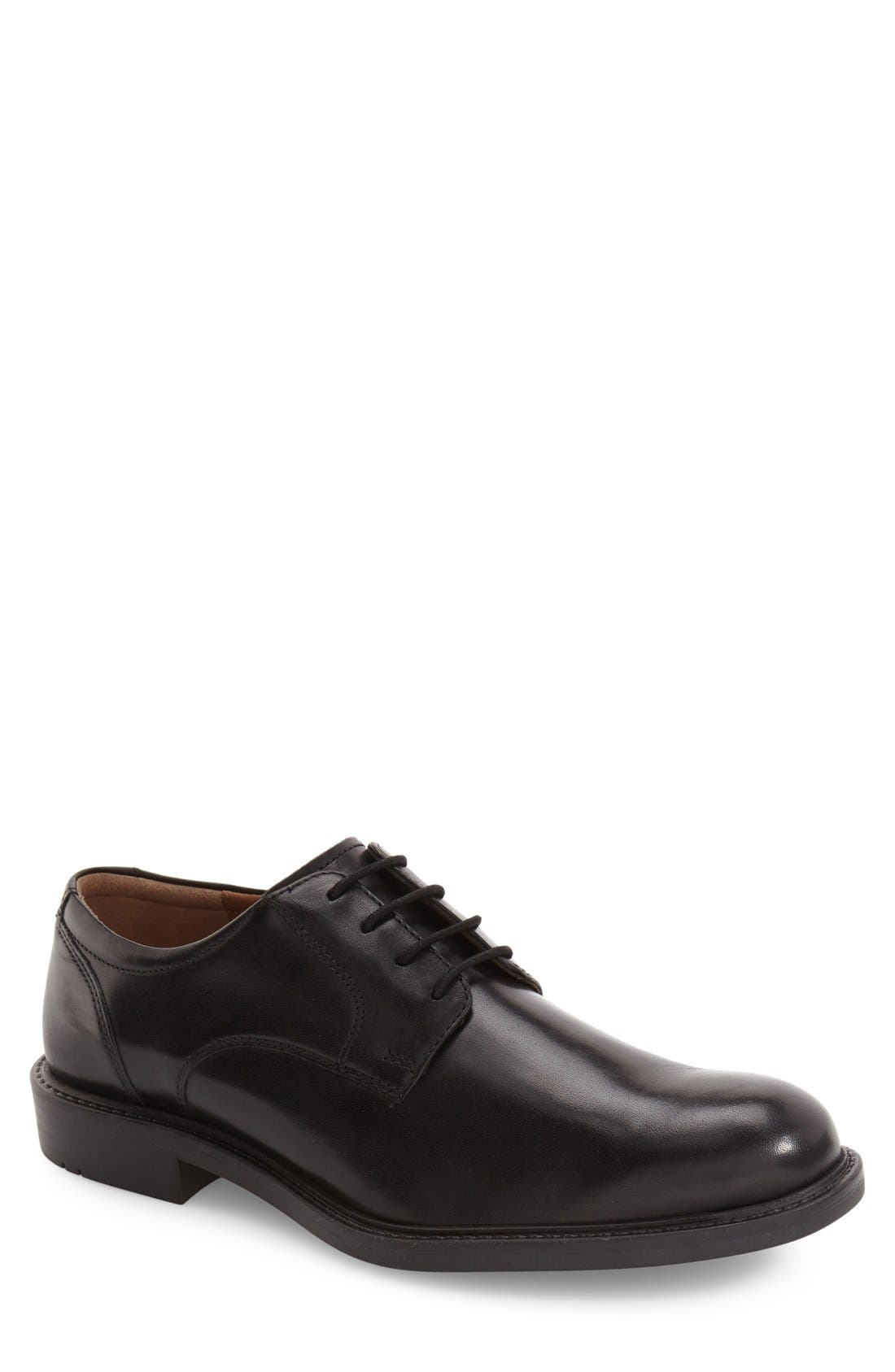 JOHNSTON & MURPHY Tabor Plain Toe Derby, Main, color, BLACK LEATHER