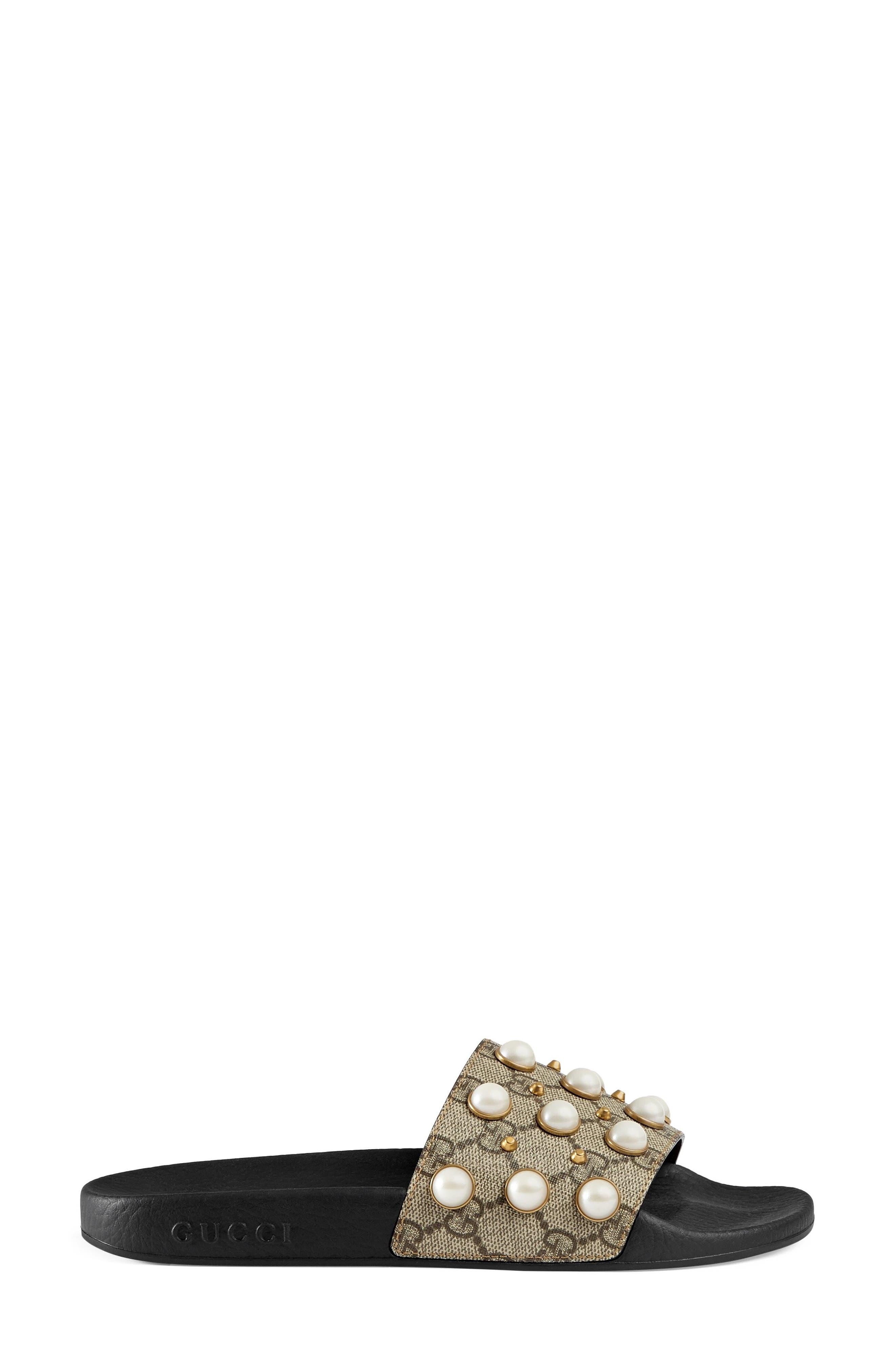 GUCCI, Pursuit Imitation Pearl Embellished Slide Sandal, Main thumbnail 1, color, BEIGE