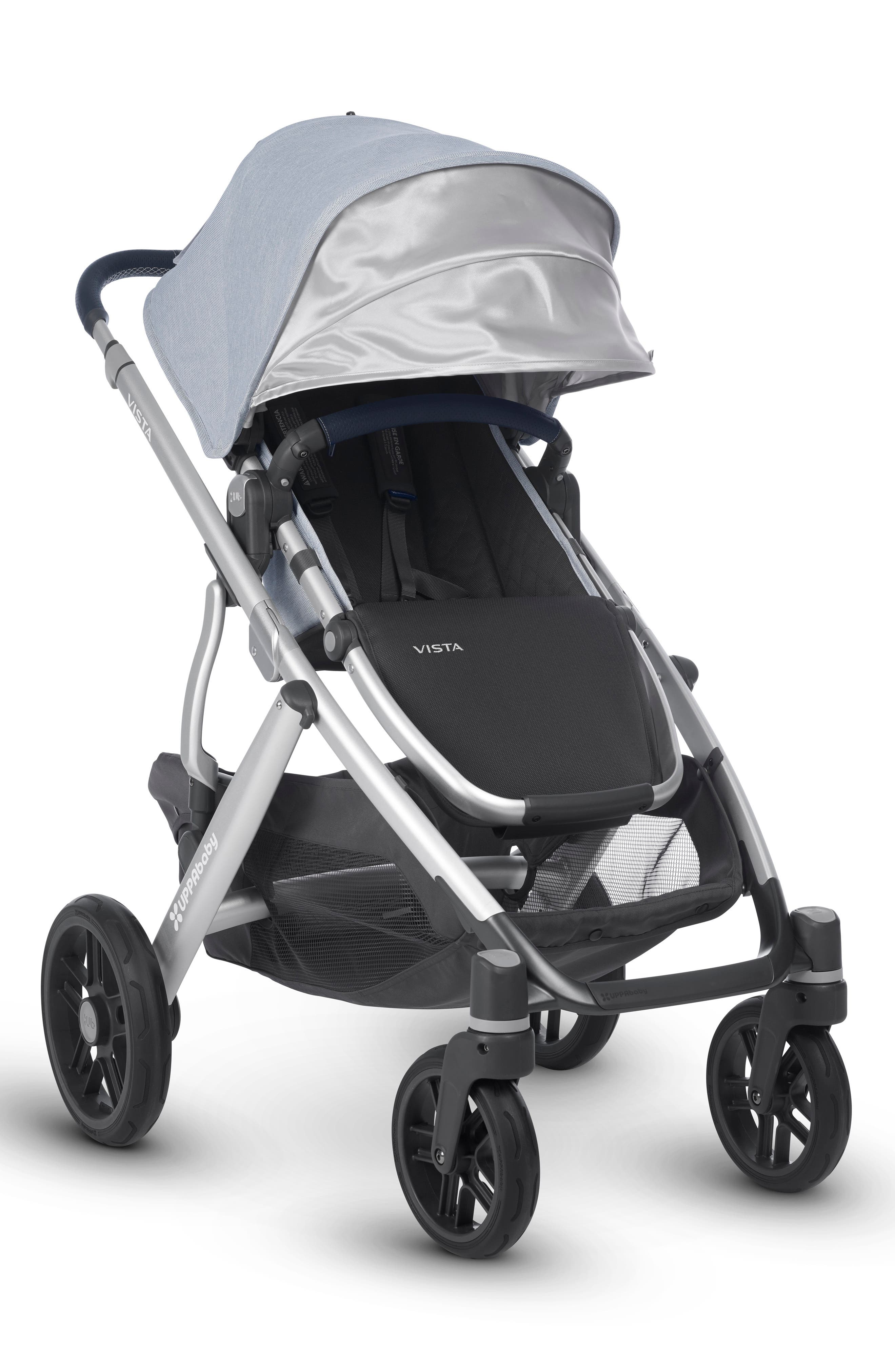 UPPABABY, VISTA Aluminum Frame Convertible Complete Stroller with Leather Trim, Alternate thumbnail 3, color, WILLIAM BLUE/ SILVER