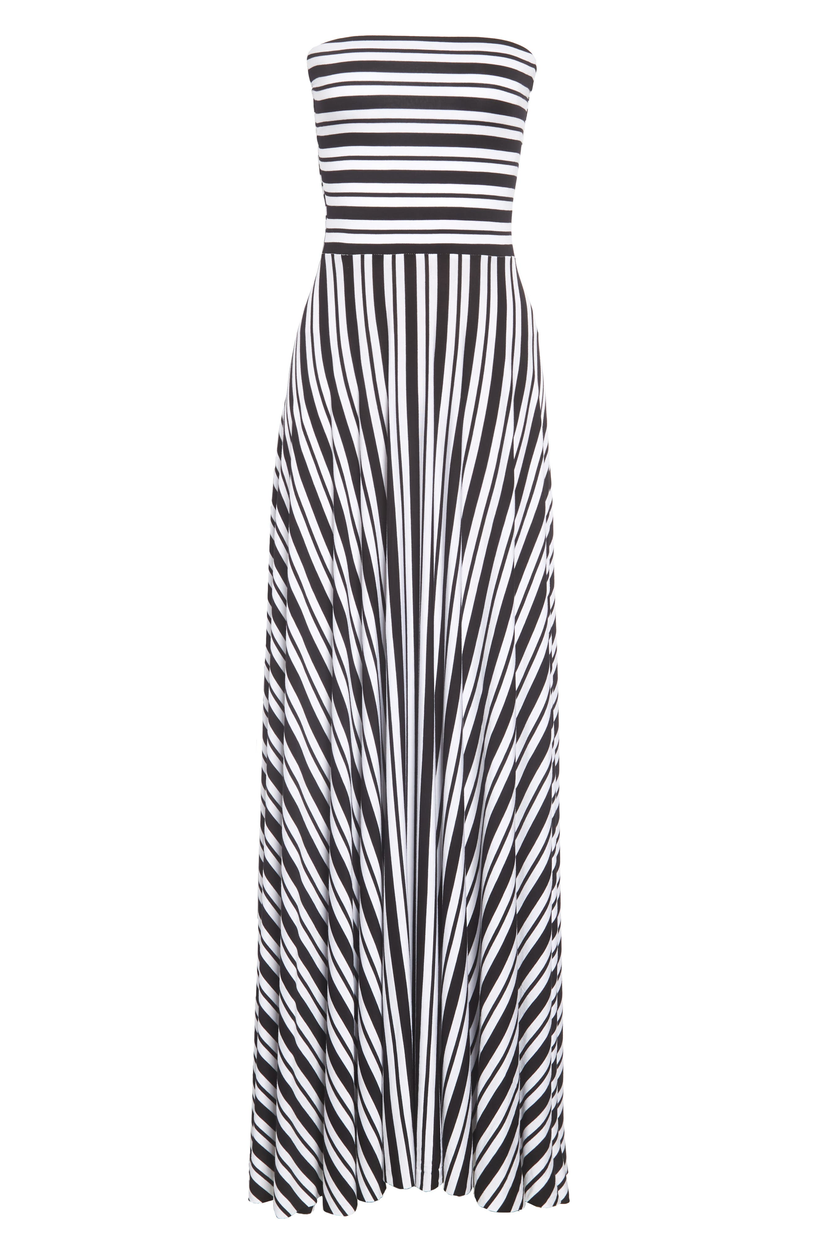 FELICITY & COCO, Stripe Strapless Maxi Dress, Alternate thumbnail 2, color, 001