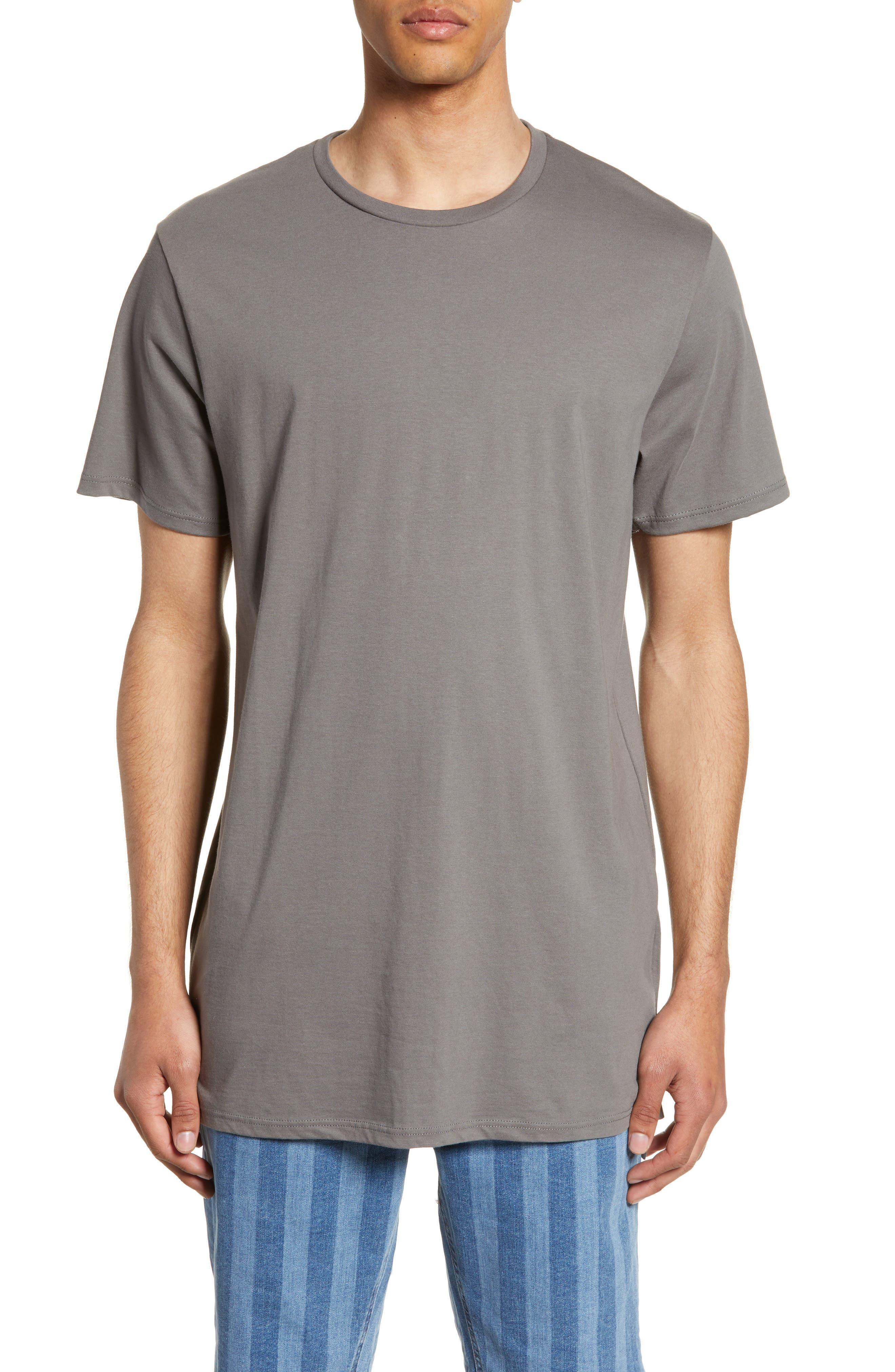 TOPMAN, Longline T-Shirt, Main thumbnail 1, color, GREY