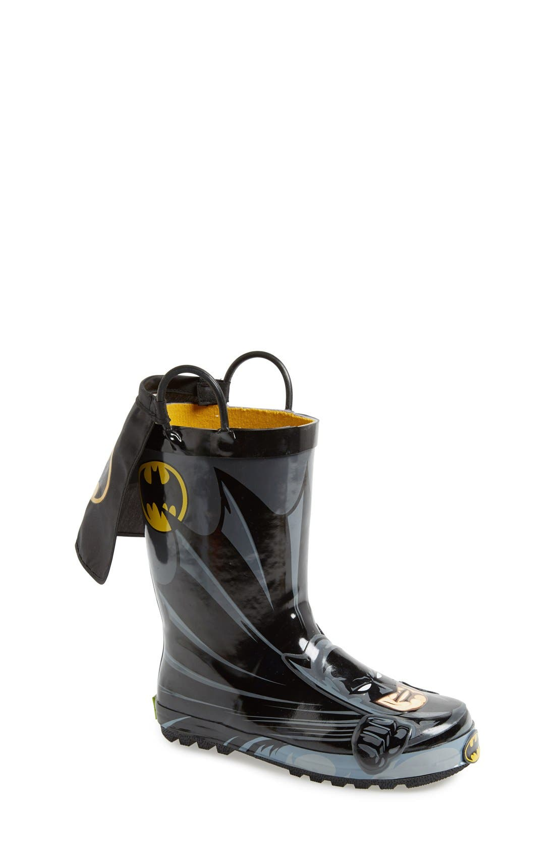WESTERN CHIEF, Batman Everlasting Waterproof Rain Boot, Main thumbnail 1, color, BLACK/ BLACK