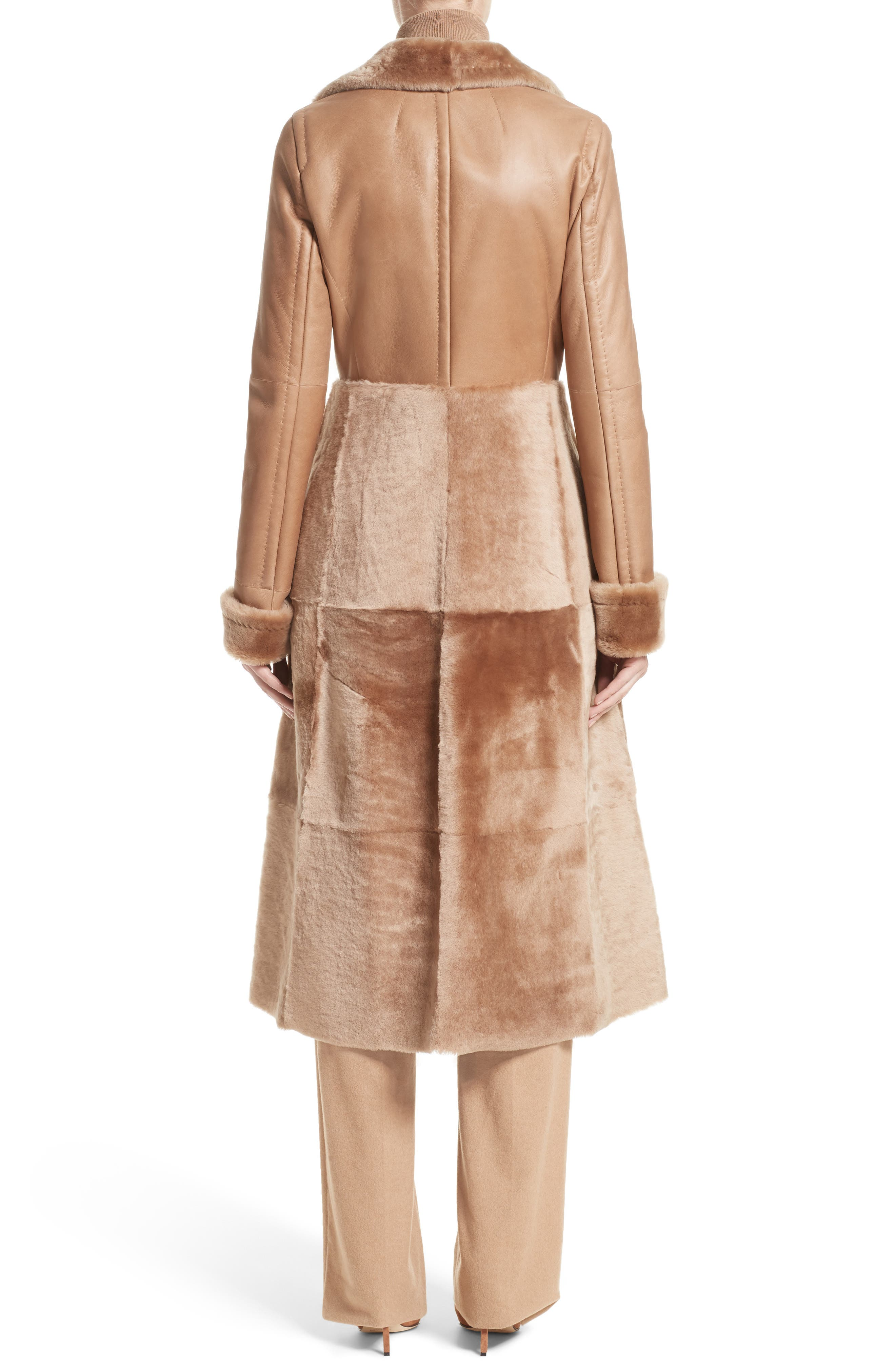 MAX MARA, Rimini Genuine Shearling Coat, Alternate thumbnail 2, color, CAMEL
