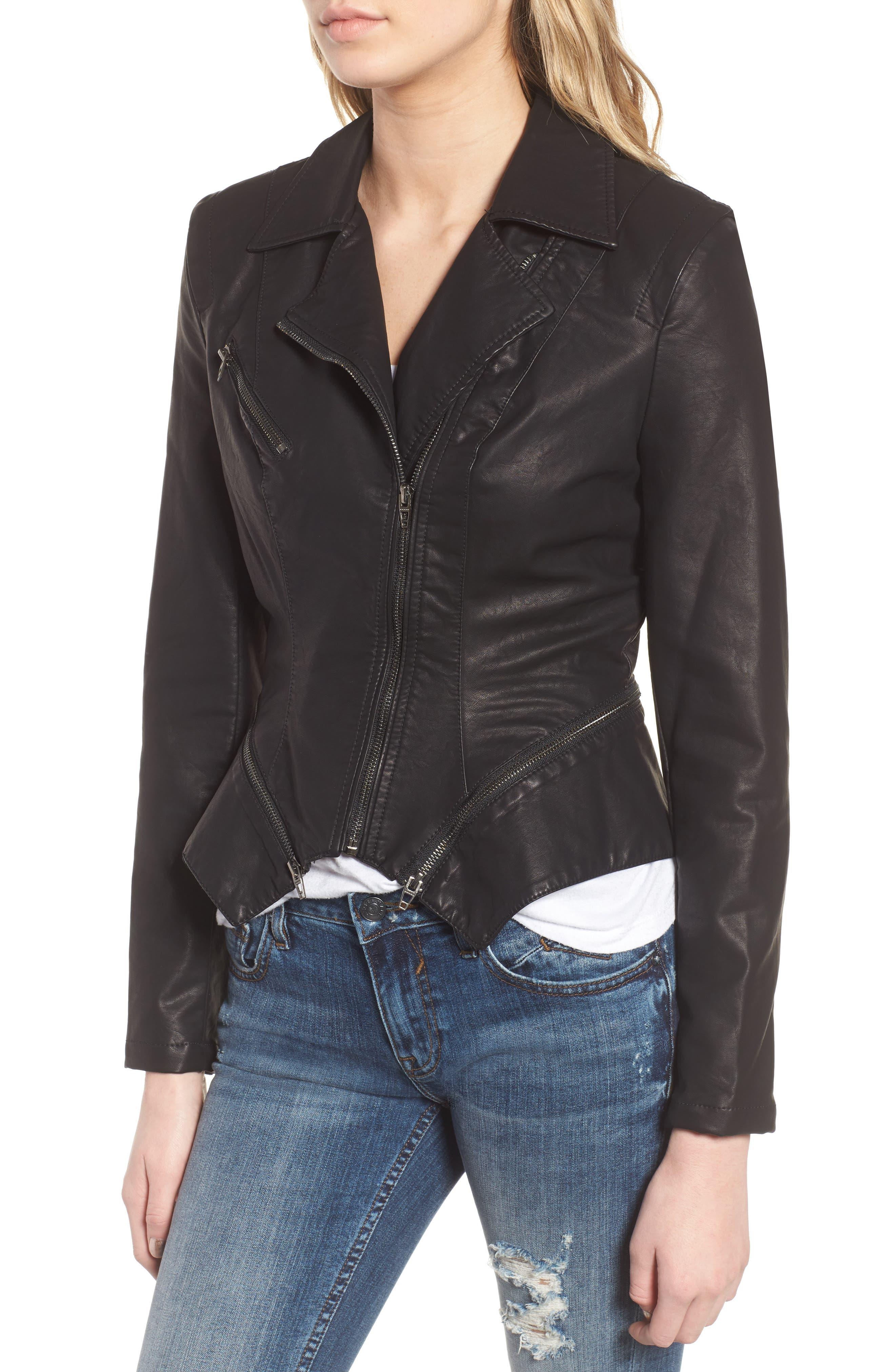 BLANKNYC, Faux Leather Moto Jacket, Alternate thumbnail 6, color, BLACK