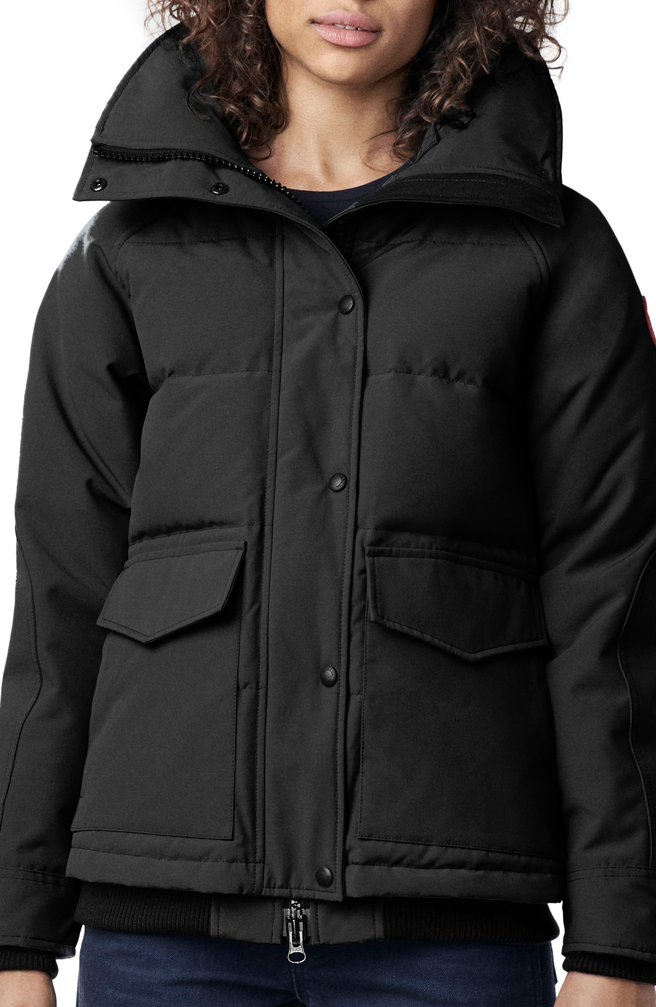 CANADA GOOSE, Deep Cove Arctic Tech Water Resistant 625 Fill Power Down Bomber Jacket, Main thumbnail 1, color, BLACK
