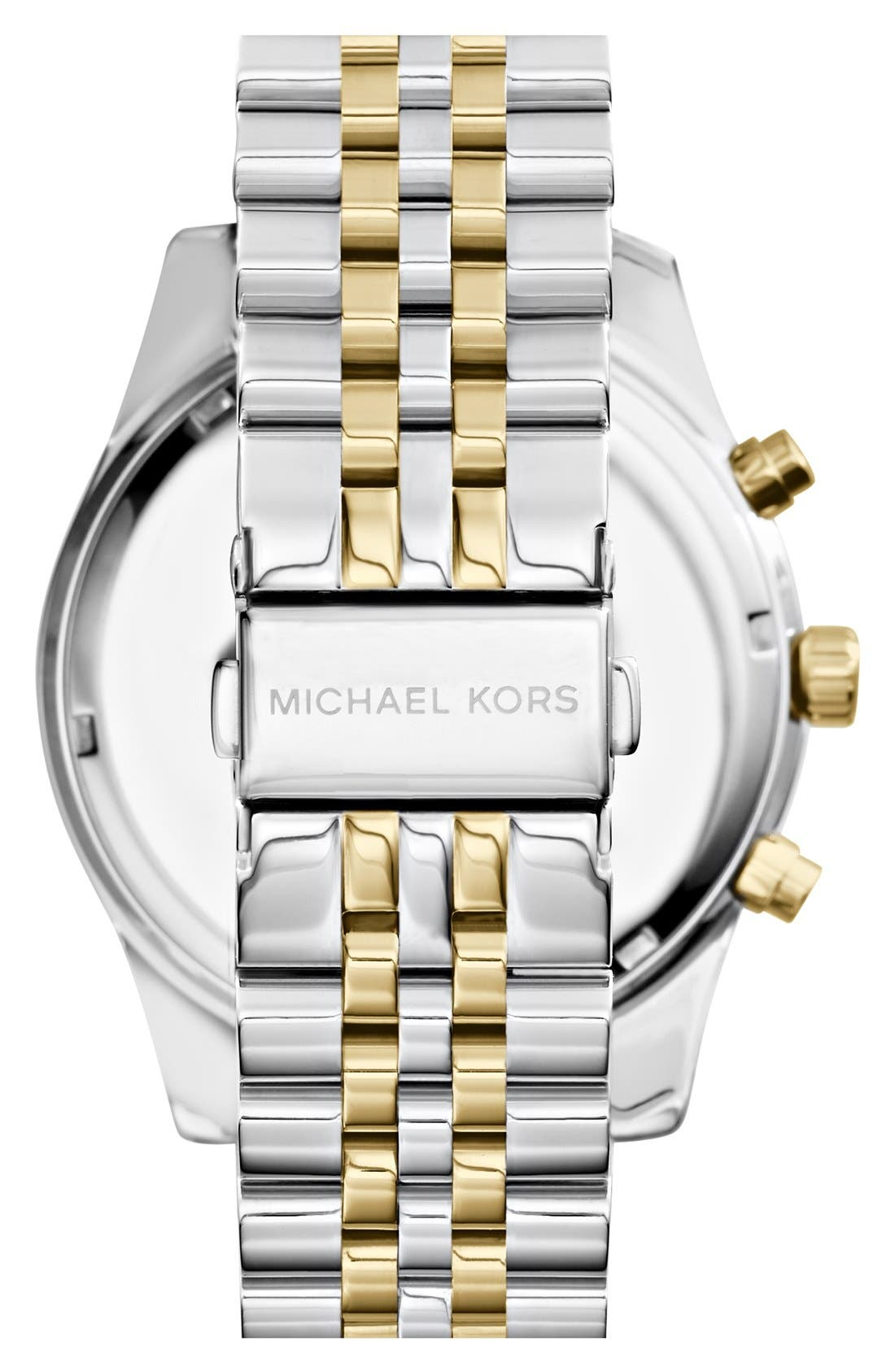 MICHAEL KORS, Large Lexington Chronograph Bracelet Watch, 45mm, Alternate thumbnail 6, color, SILVER/ GOLD