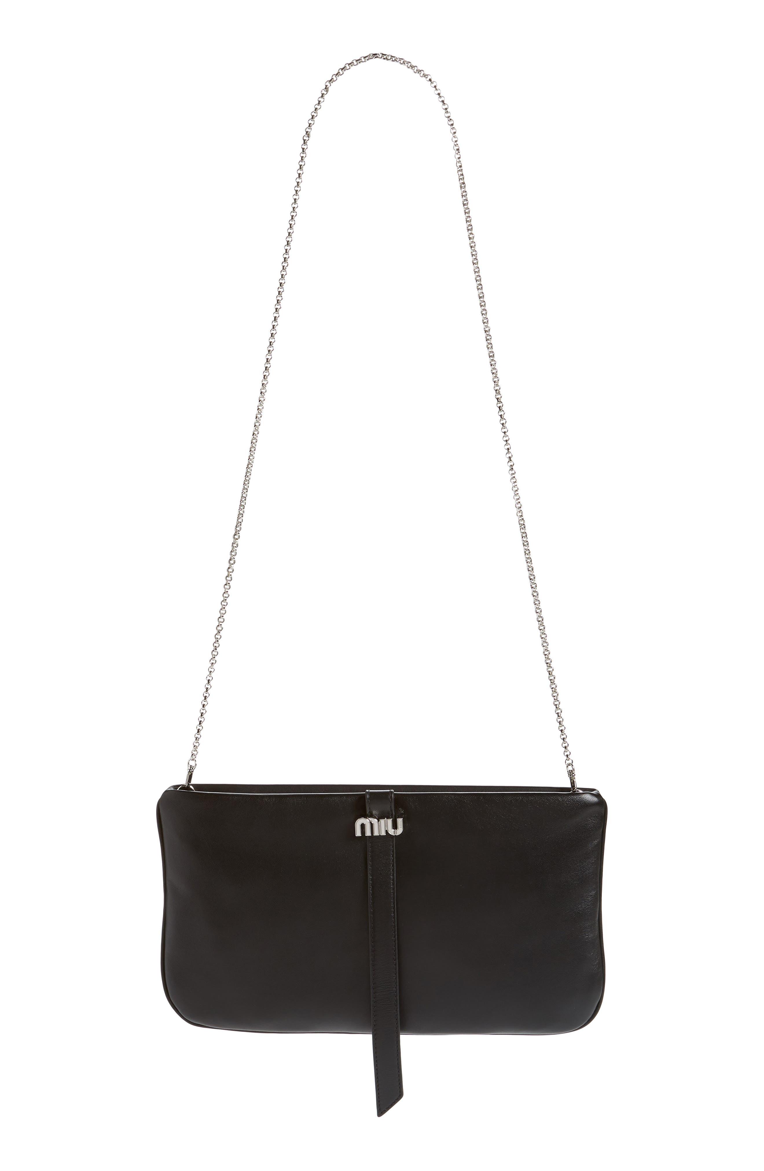 MIU MIU, Lambskin Leather Clutch on a Chain, Main thumbnail 1, color, NERO