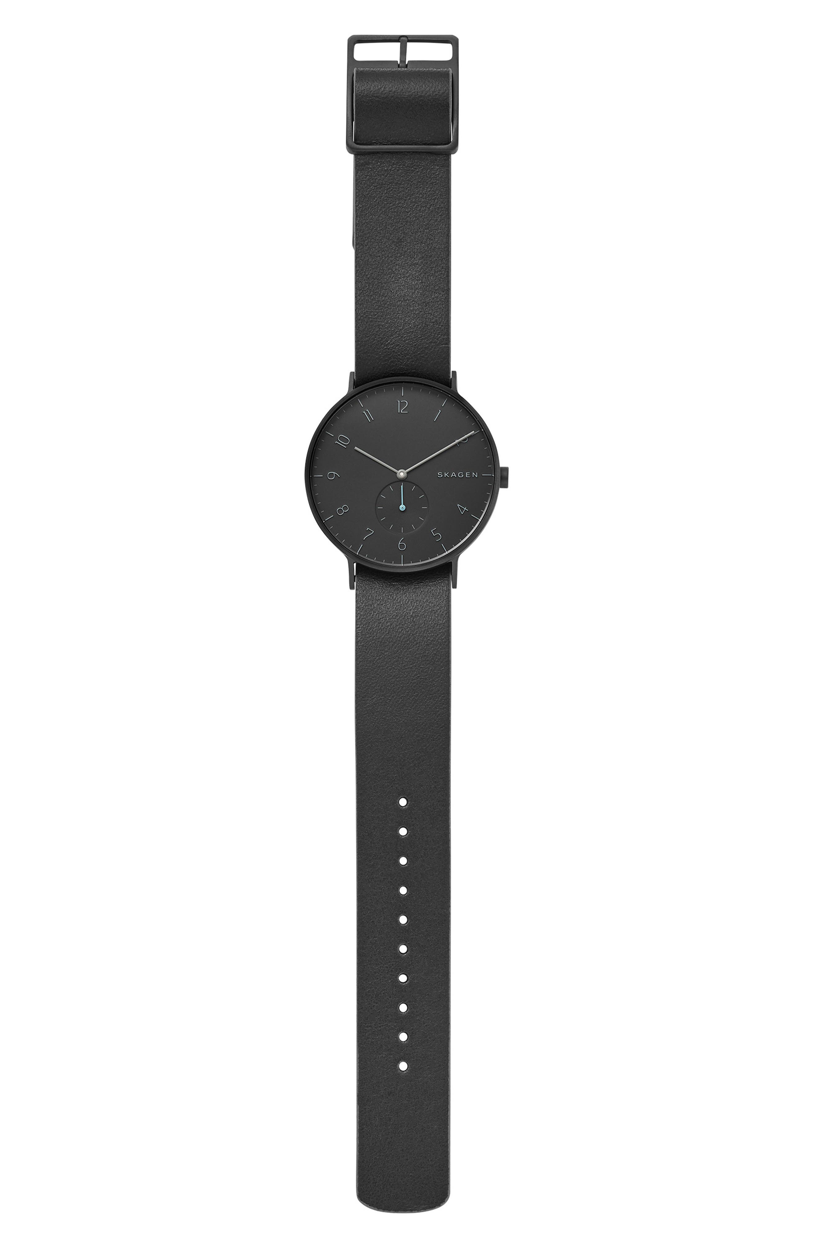 SKAGEN, Aaren Reversible Leather Strap Watch, 40mm, Alternate thumbnail 6, color, 001