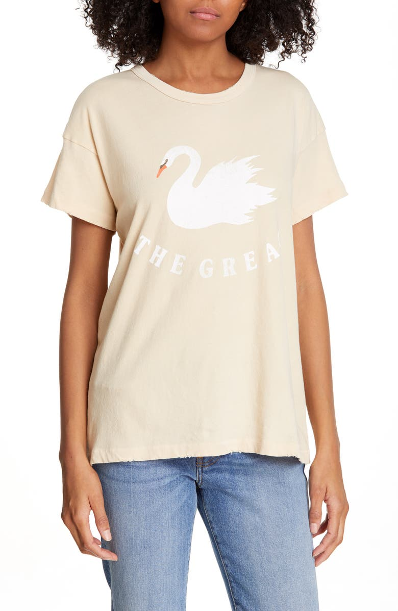 The Great Tops THE BOXY CREW SWAN PRINT TEE
