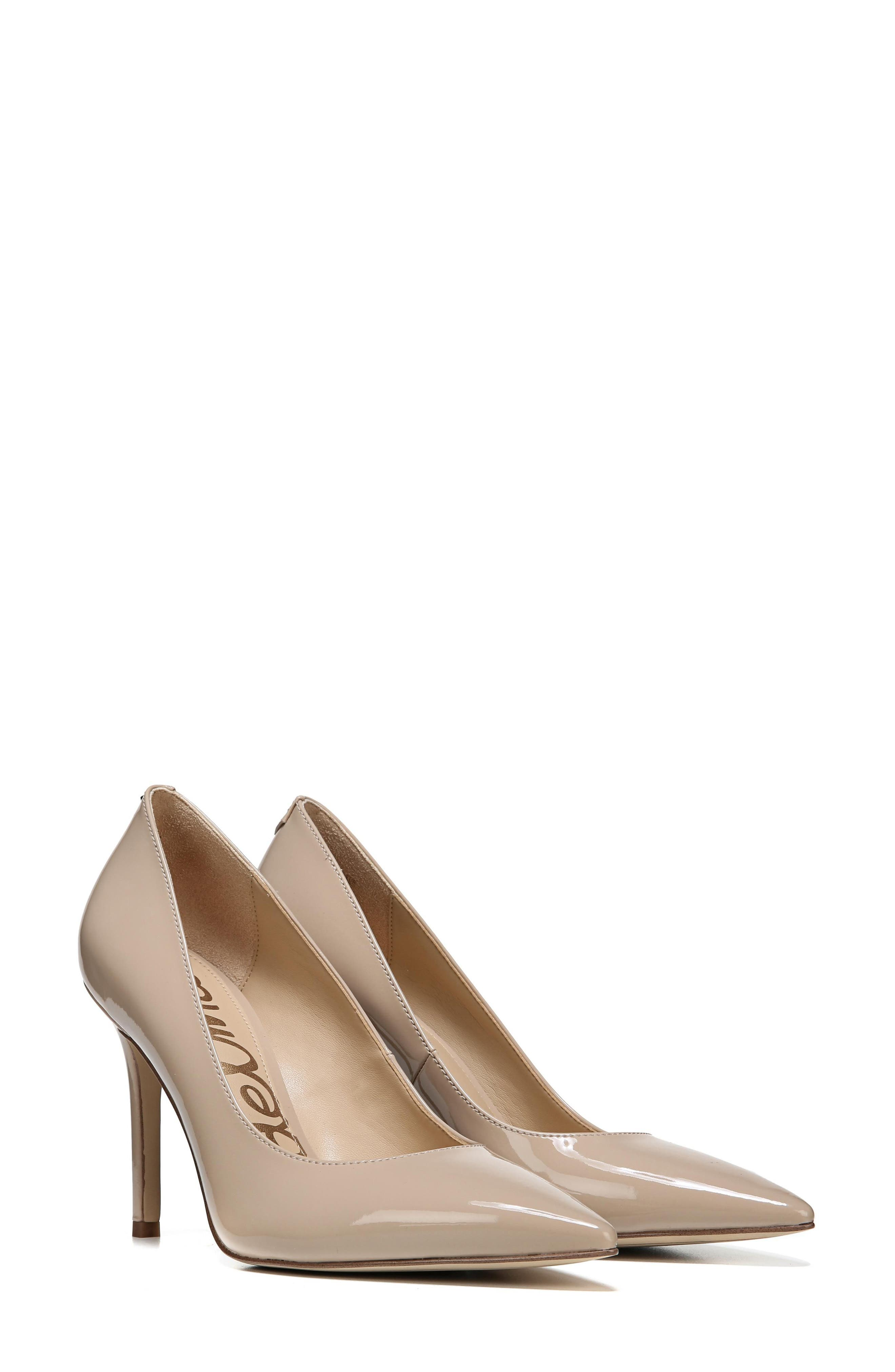 SAM EDELMAN, Hazel Pointy Toe Pump, Alternate thumbnail 10, color, NUDE LINEN PATENT LEATHER