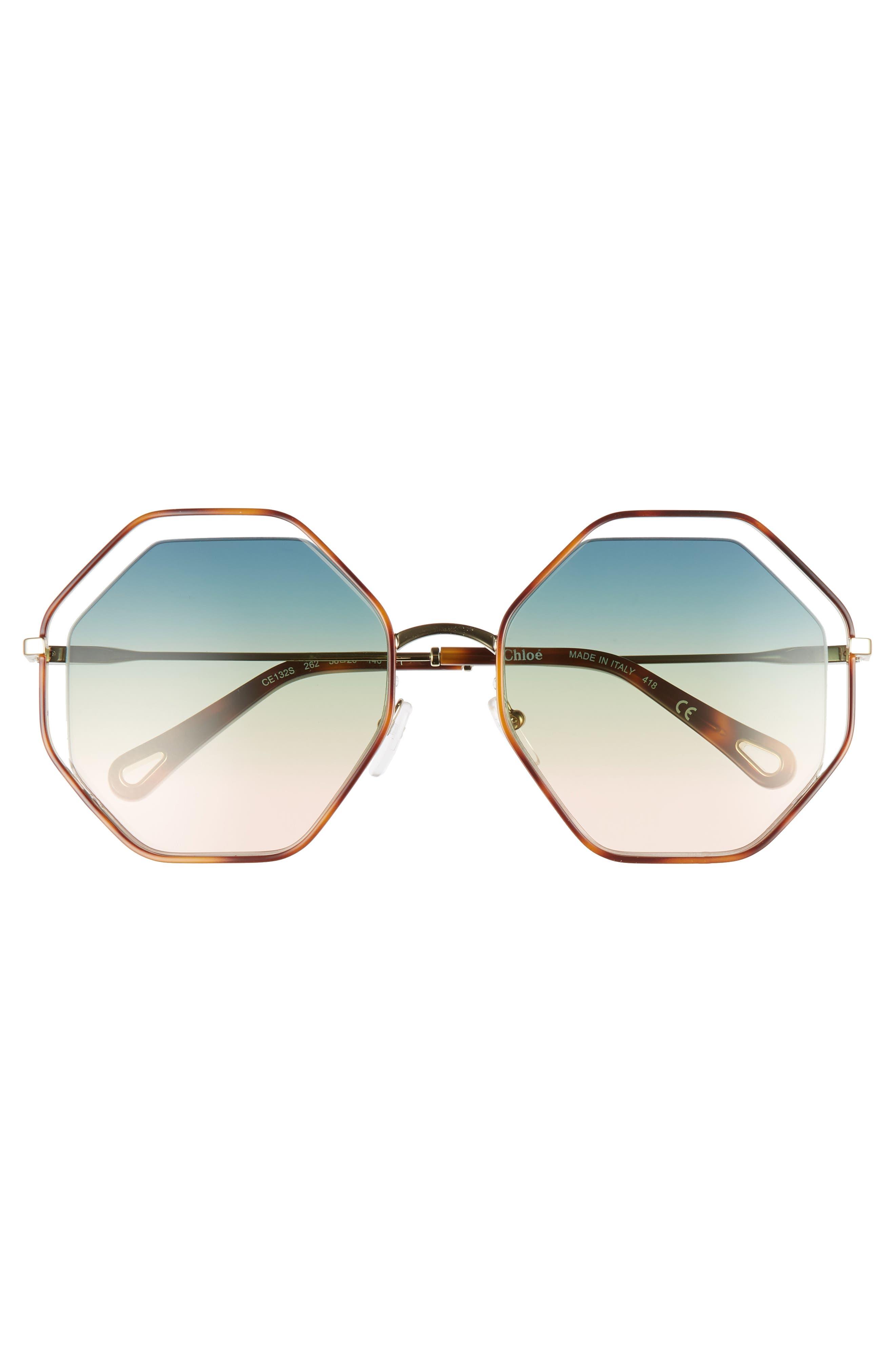 CHLOÉ, 58mm Octagonal Halo Lens Sunglasses, Alternate thumbnail 3, color, HAVANA/ GRADIENT BLUE
