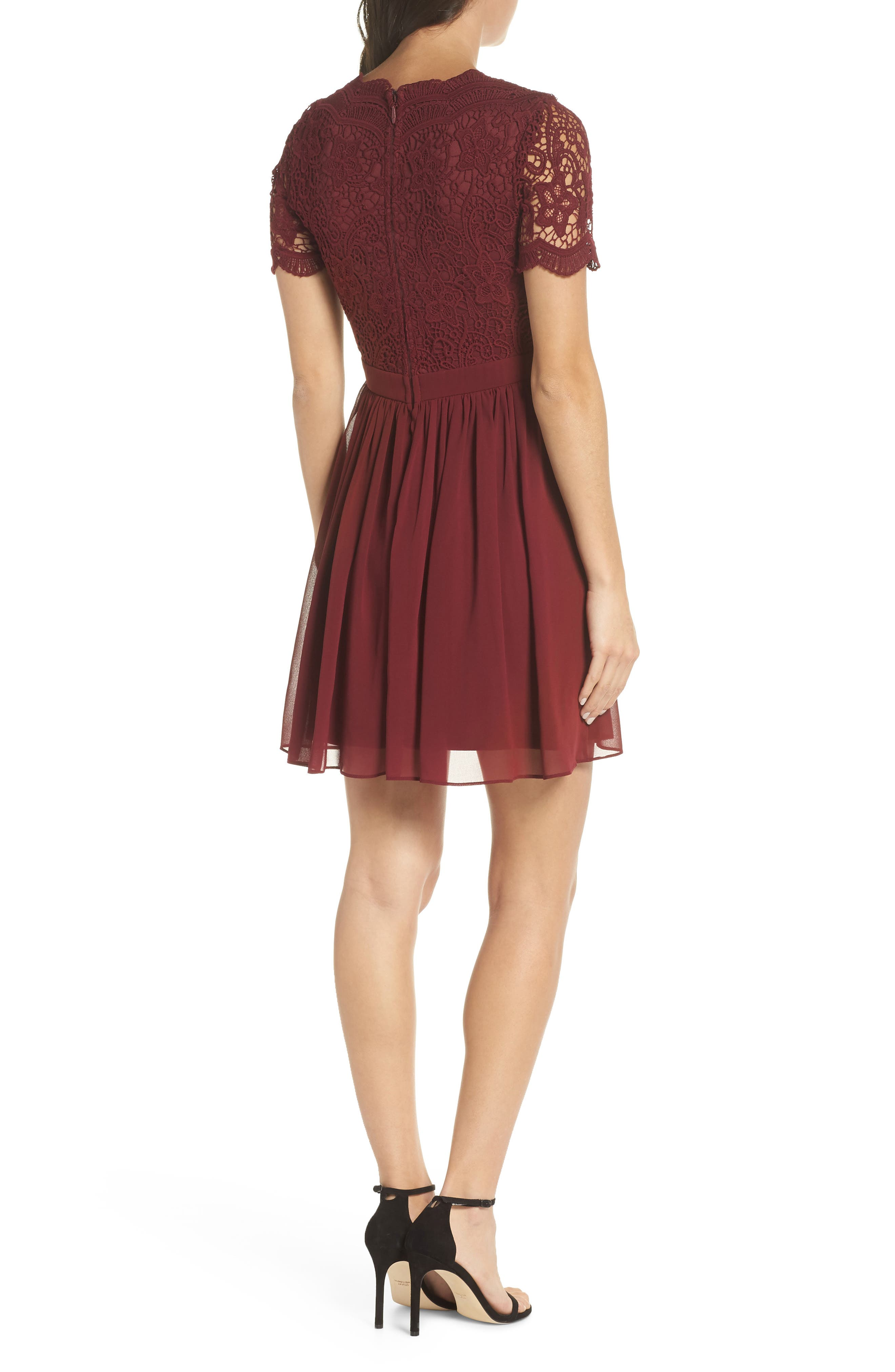 LULUS, Angel in Disguise Lace & Chiffon Party Dress, Alternate thumbnail 2, color, BURGUNDY