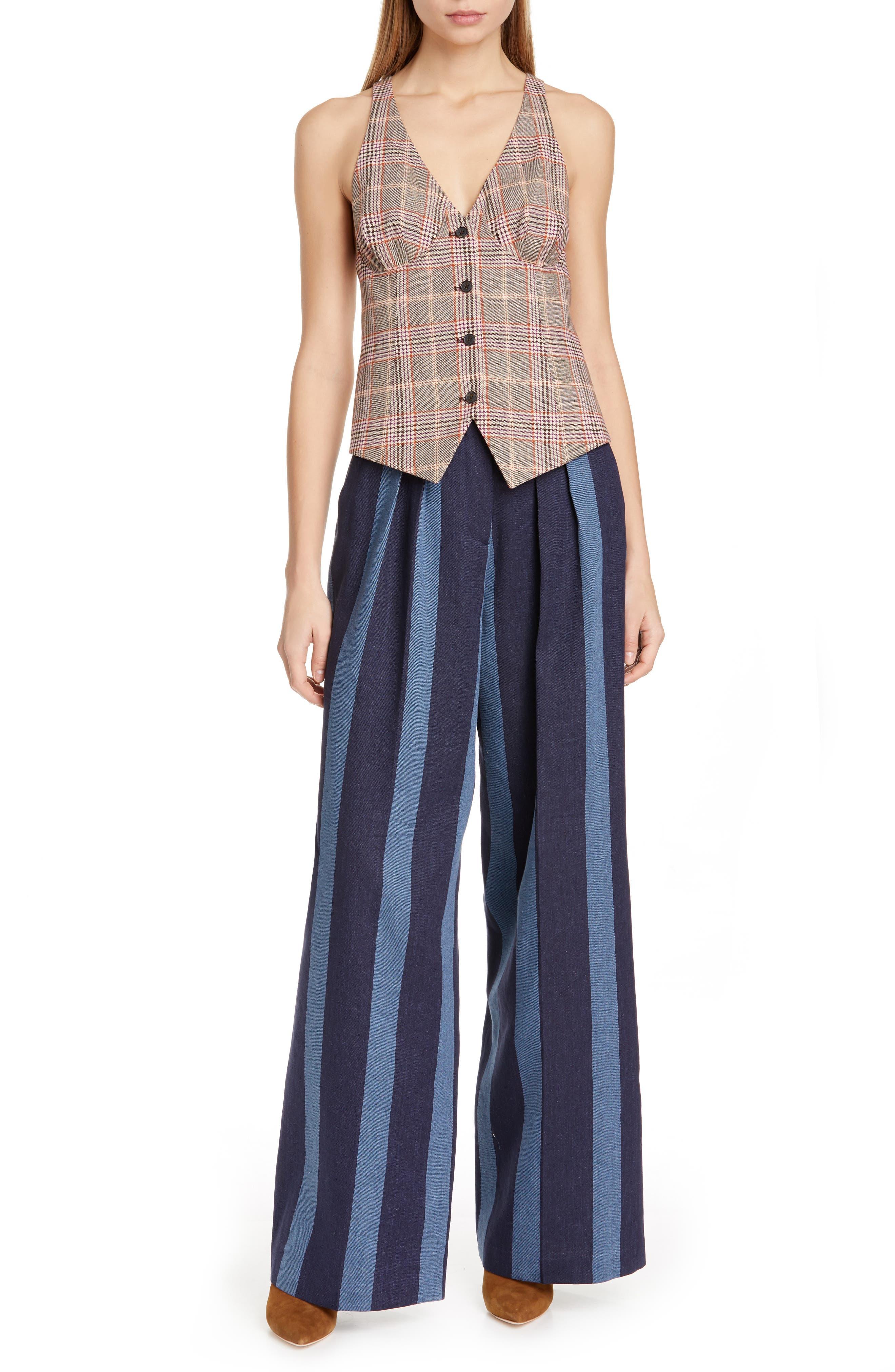 TOMMY X ZENDAYA, Stripe Denim Pants, Alternate thumbnail 8, color, STRIPED DENIM