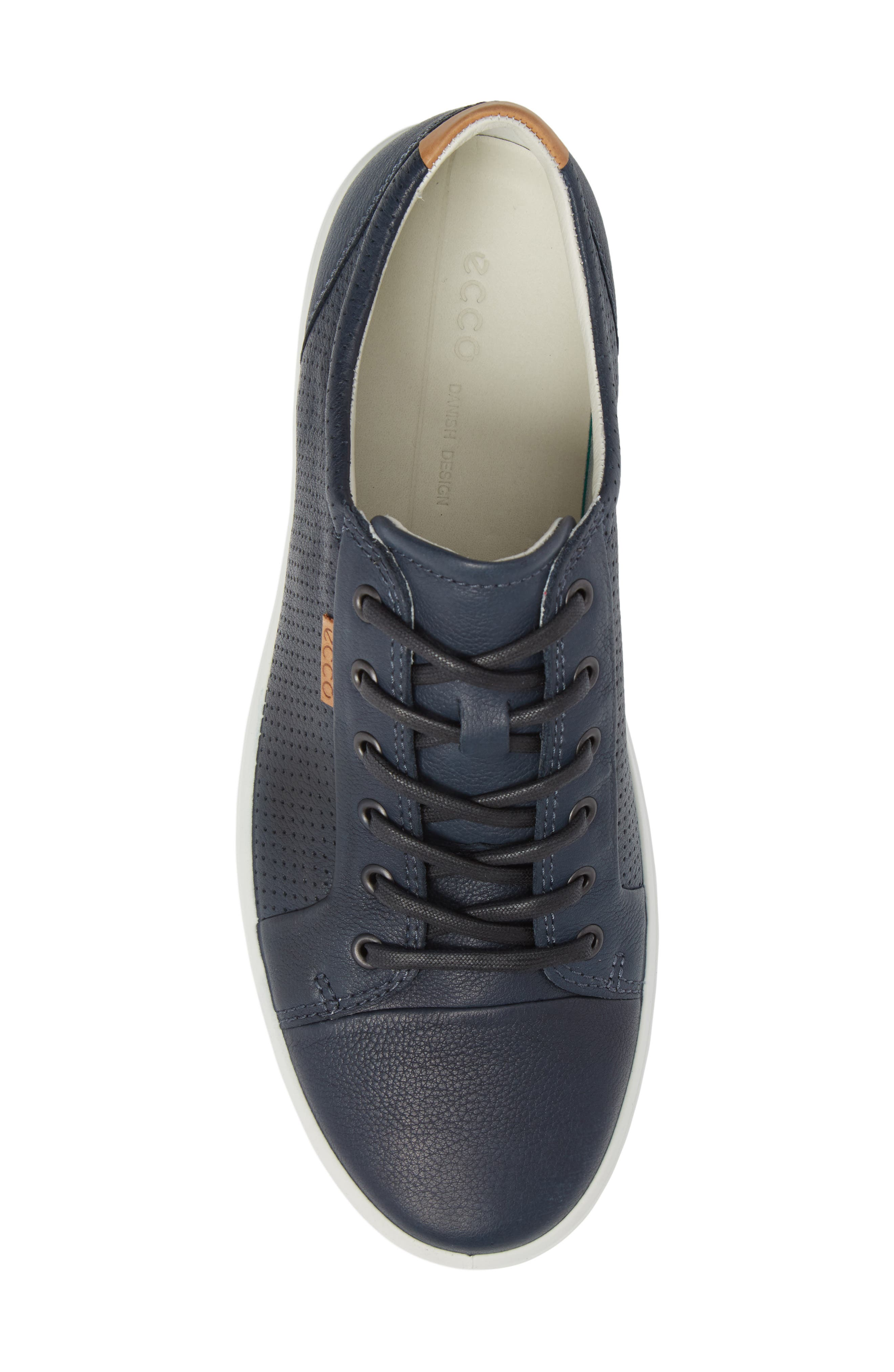 ECCO, Soft 7 Perf Sneaker, Alternate thumbnail 5, color, NAVY LEATHER