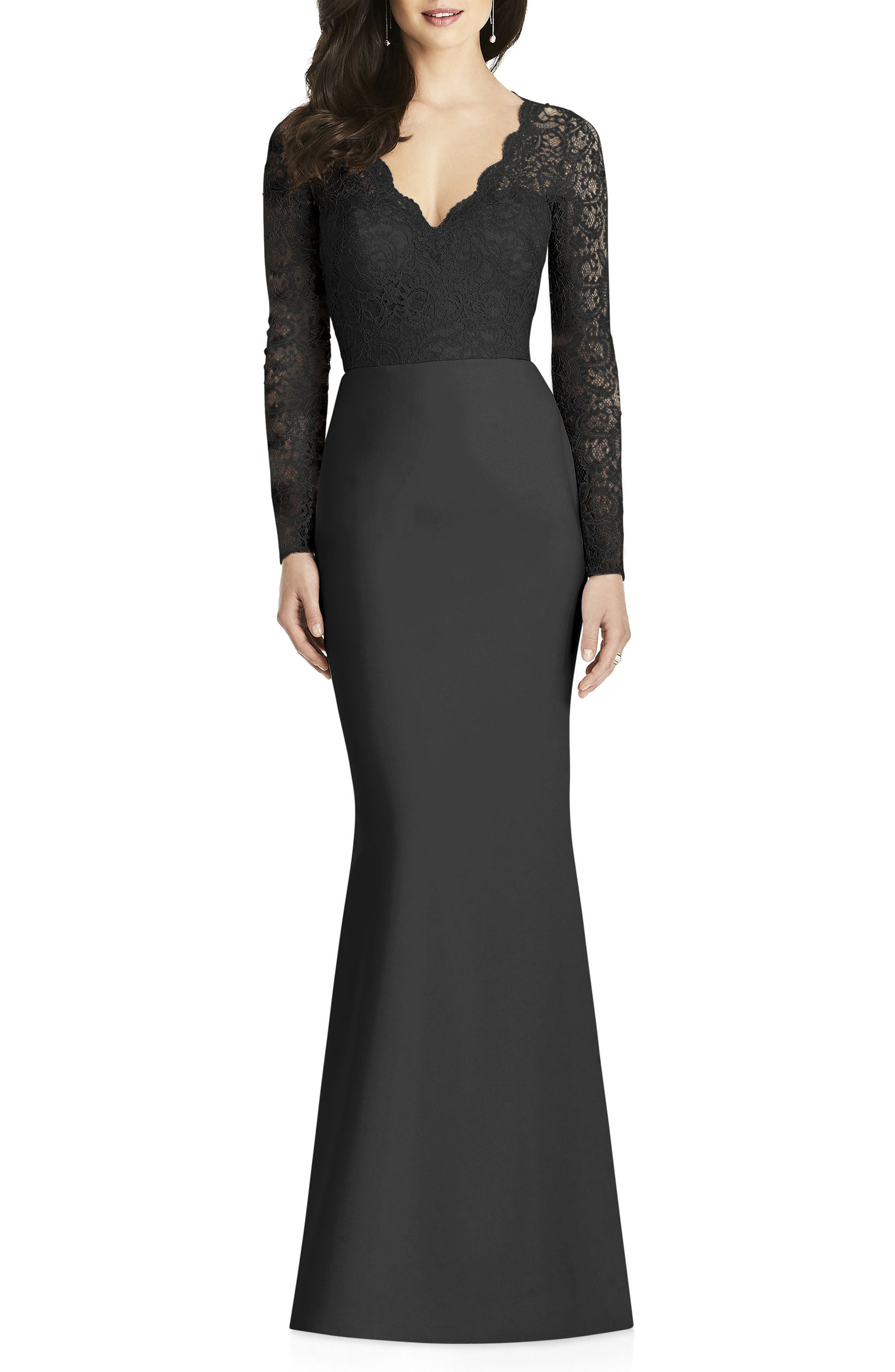DESSY COLLECTION Lace & Crepe Trumpet Gown, Main, color, BLACK