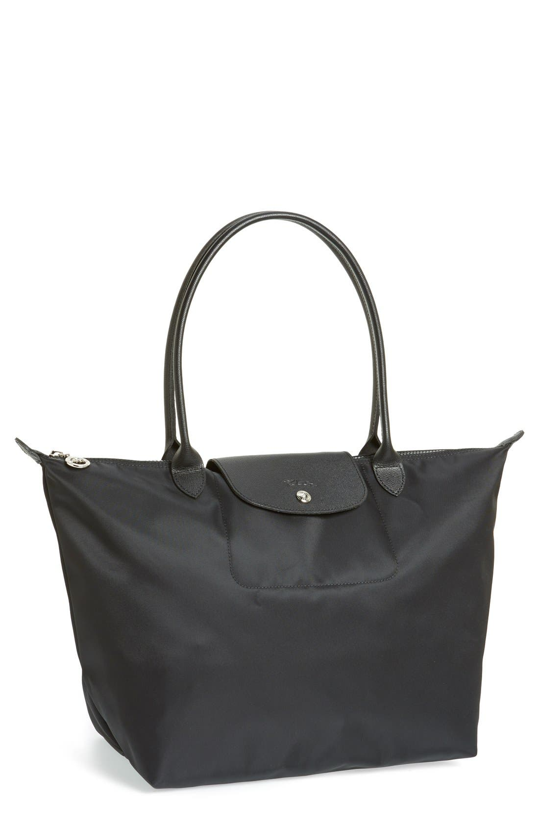 LONGCHAMP, 'Large Le Pliage Neo' Nylon Tote, Main thumbnail 1, color, BLACK