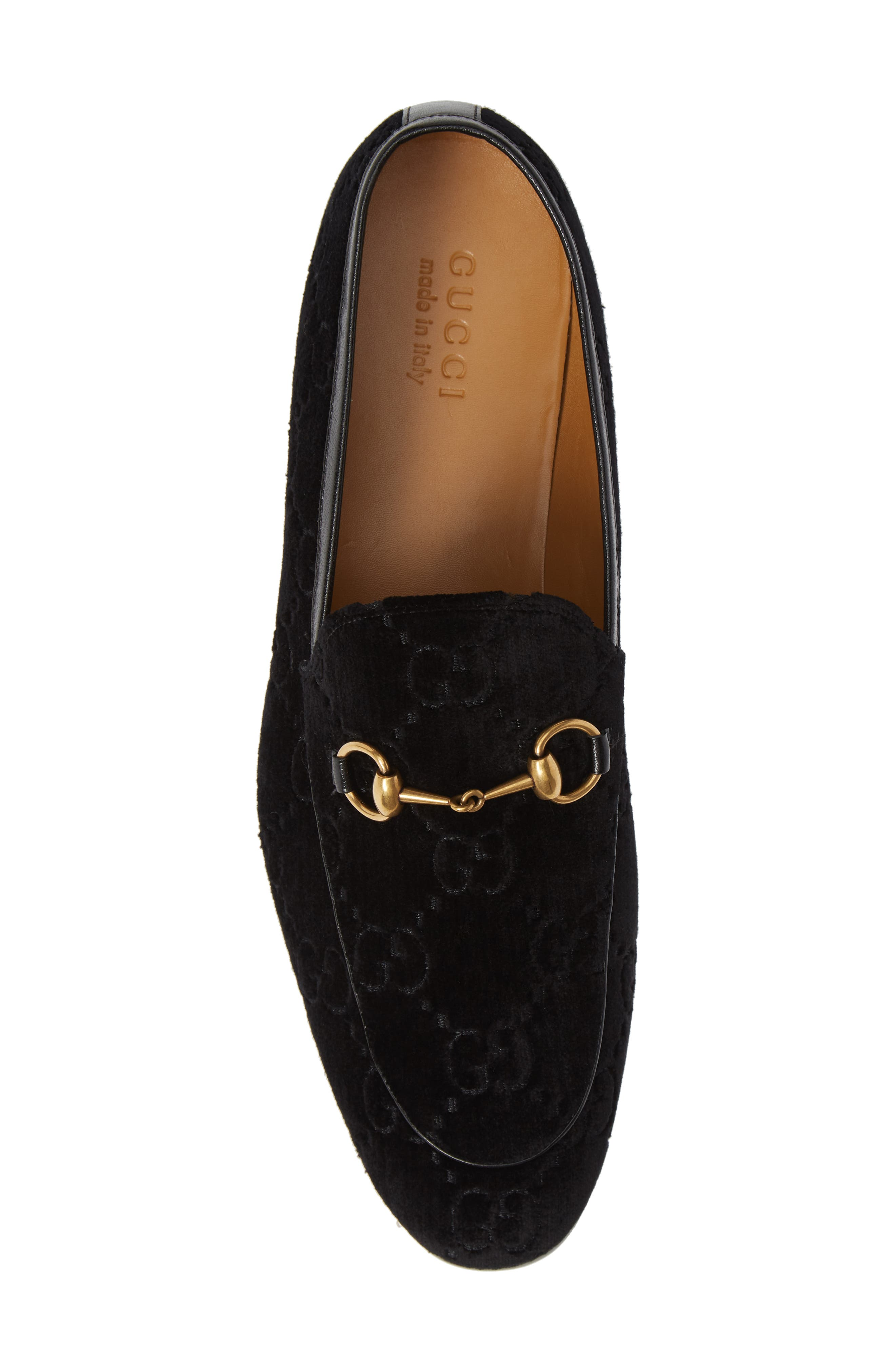 GUCCI, Jordaan GG Velvet Loafer, Alternate thumbnail 5, color, NERO/ NERO