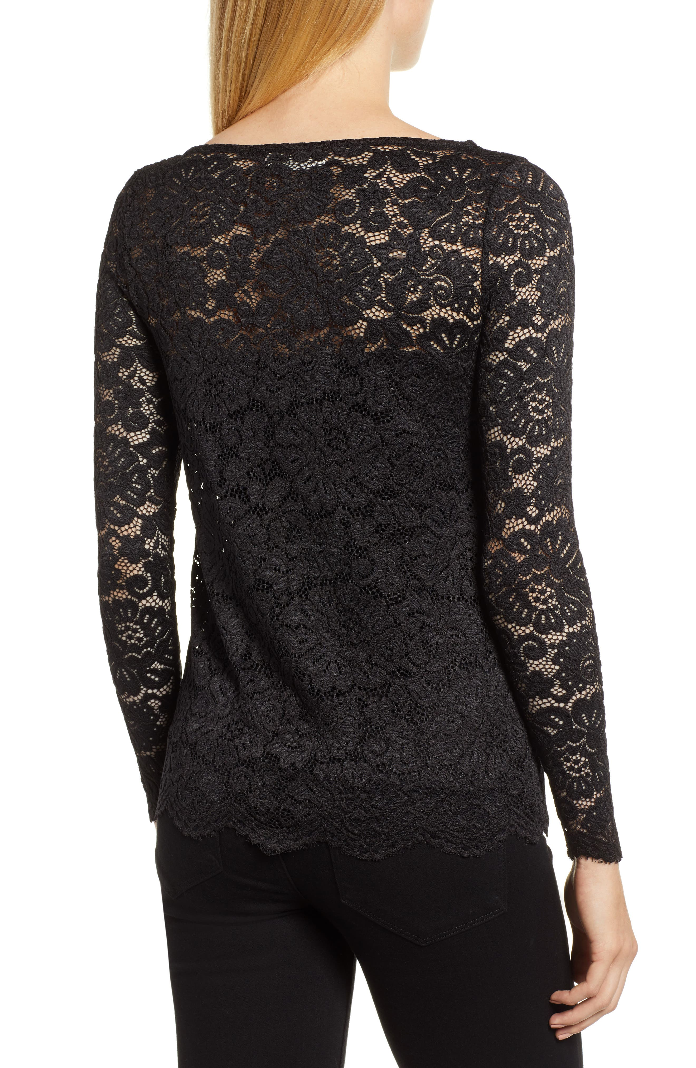 ROSEMUNDE, Filipa Lace Blouse, Alternate thumbnail 2, color, BLACK