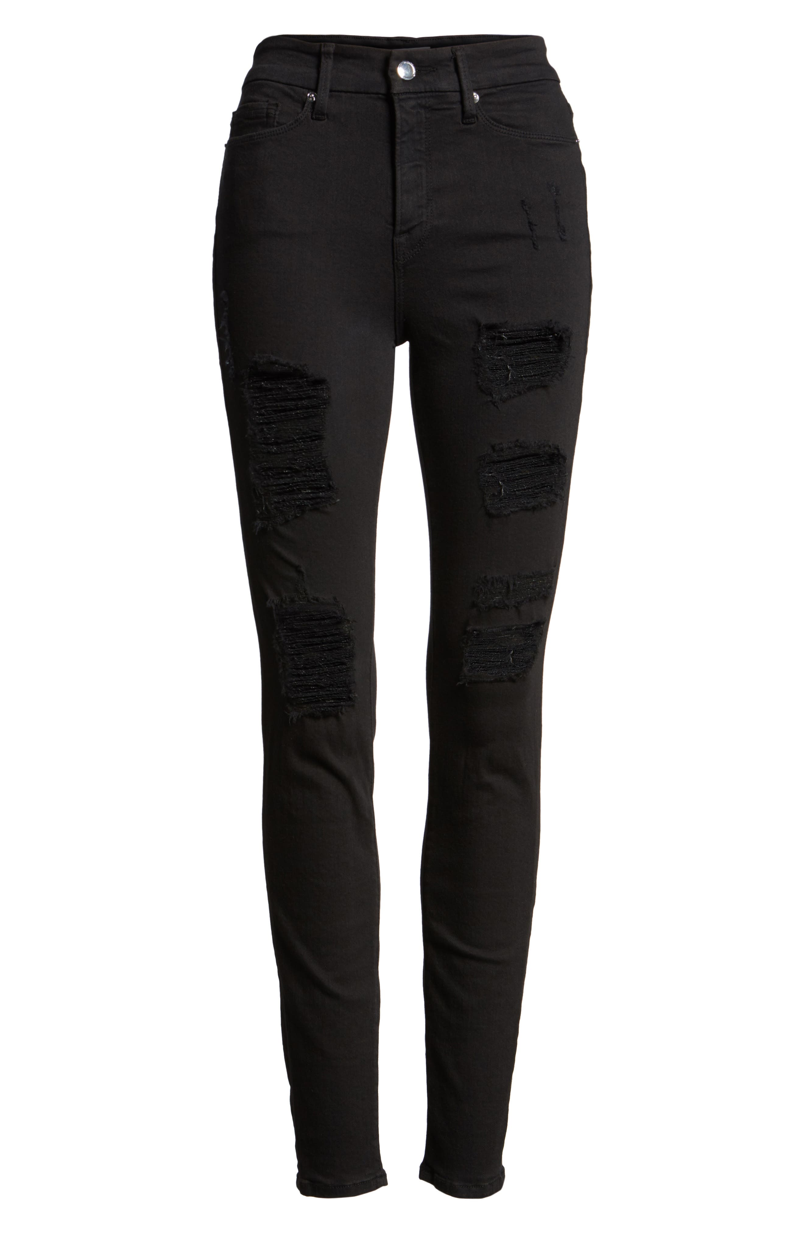 GOOD AMERICAN Good Legs High Rise Ripped Skinny Jeans, Main, color, 001