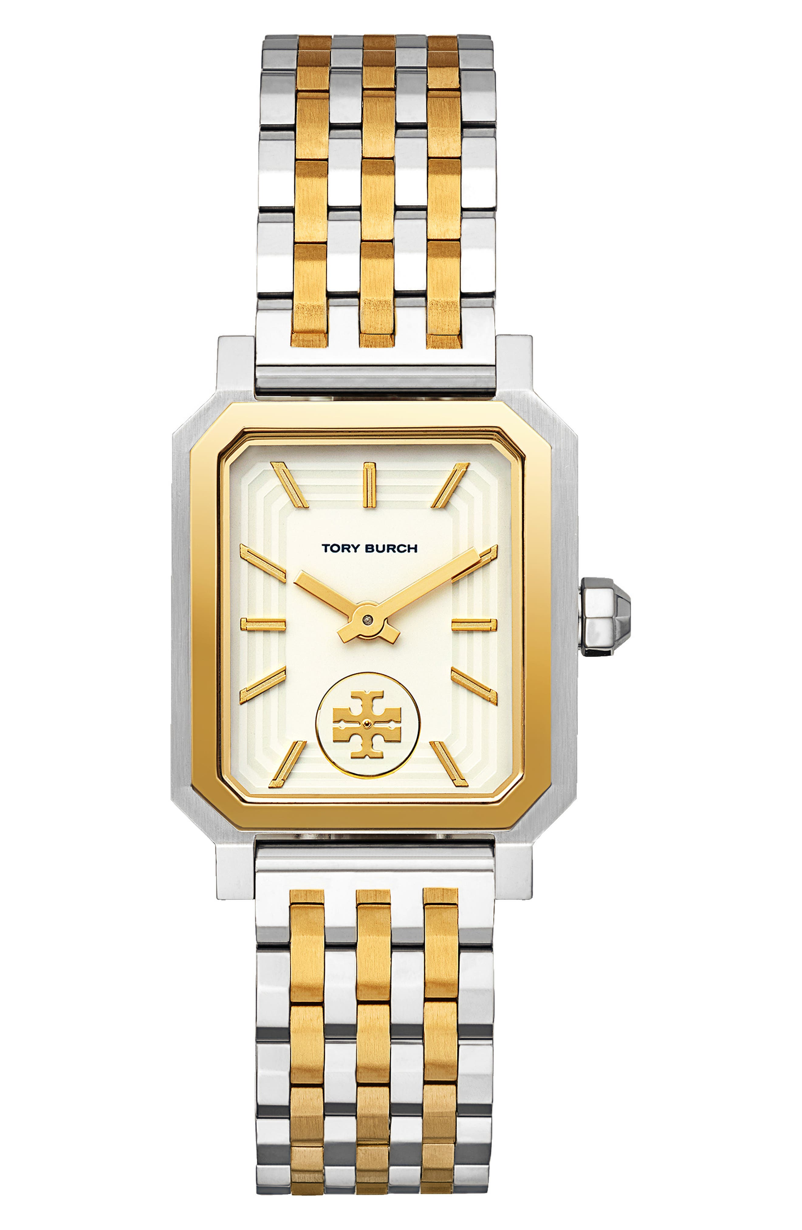 TORY BURCH, Robinson Mesh Bracelet Watch, 27mm x 29mm, Main thumbnail 1, color, SILVER/ WHITE/ GOLD