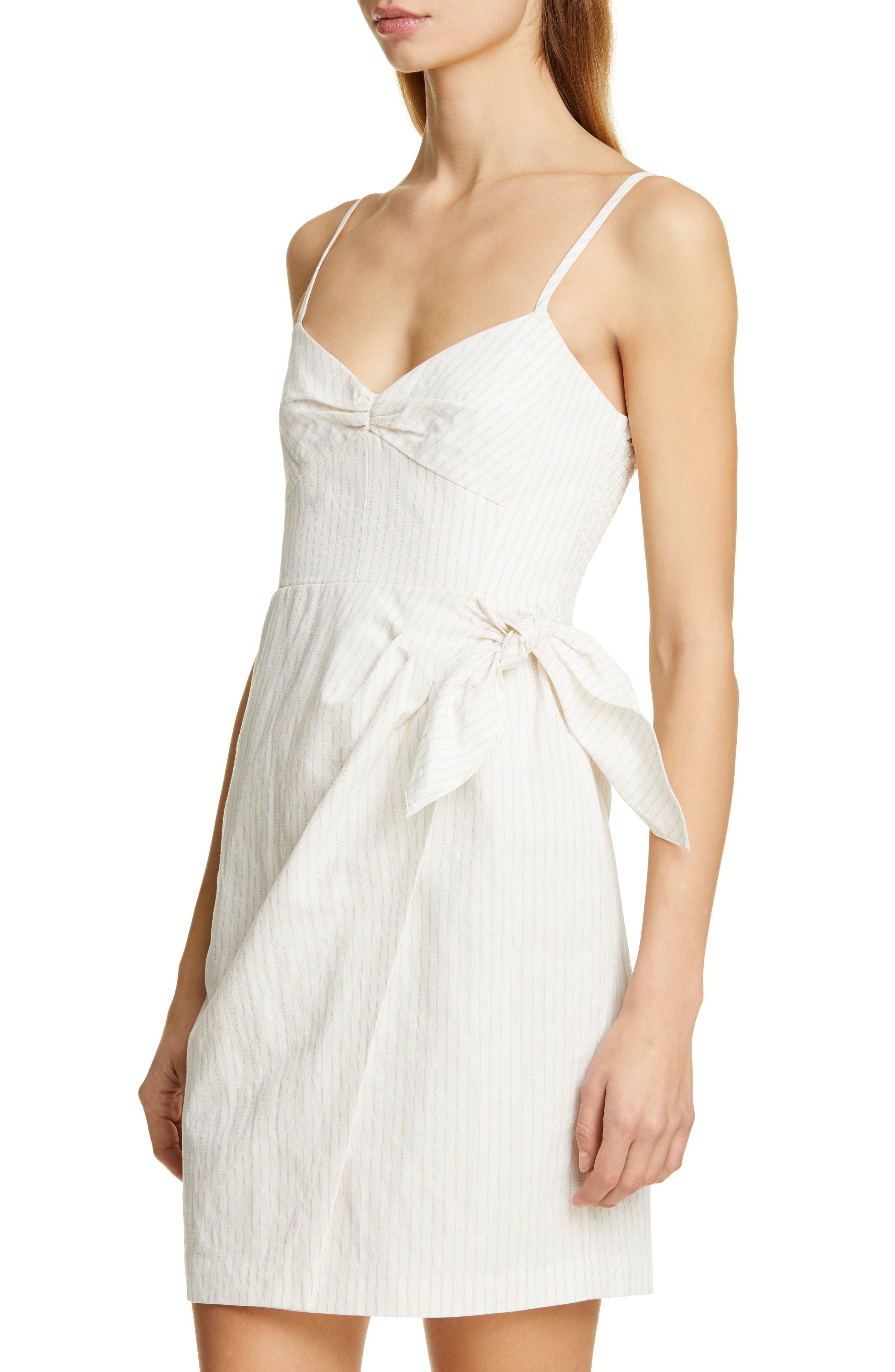 REBECCA TAYLOR, Pinstripe Cotton & Linen Dress, Alternate thumbnail 4, color, SNOW COMBO