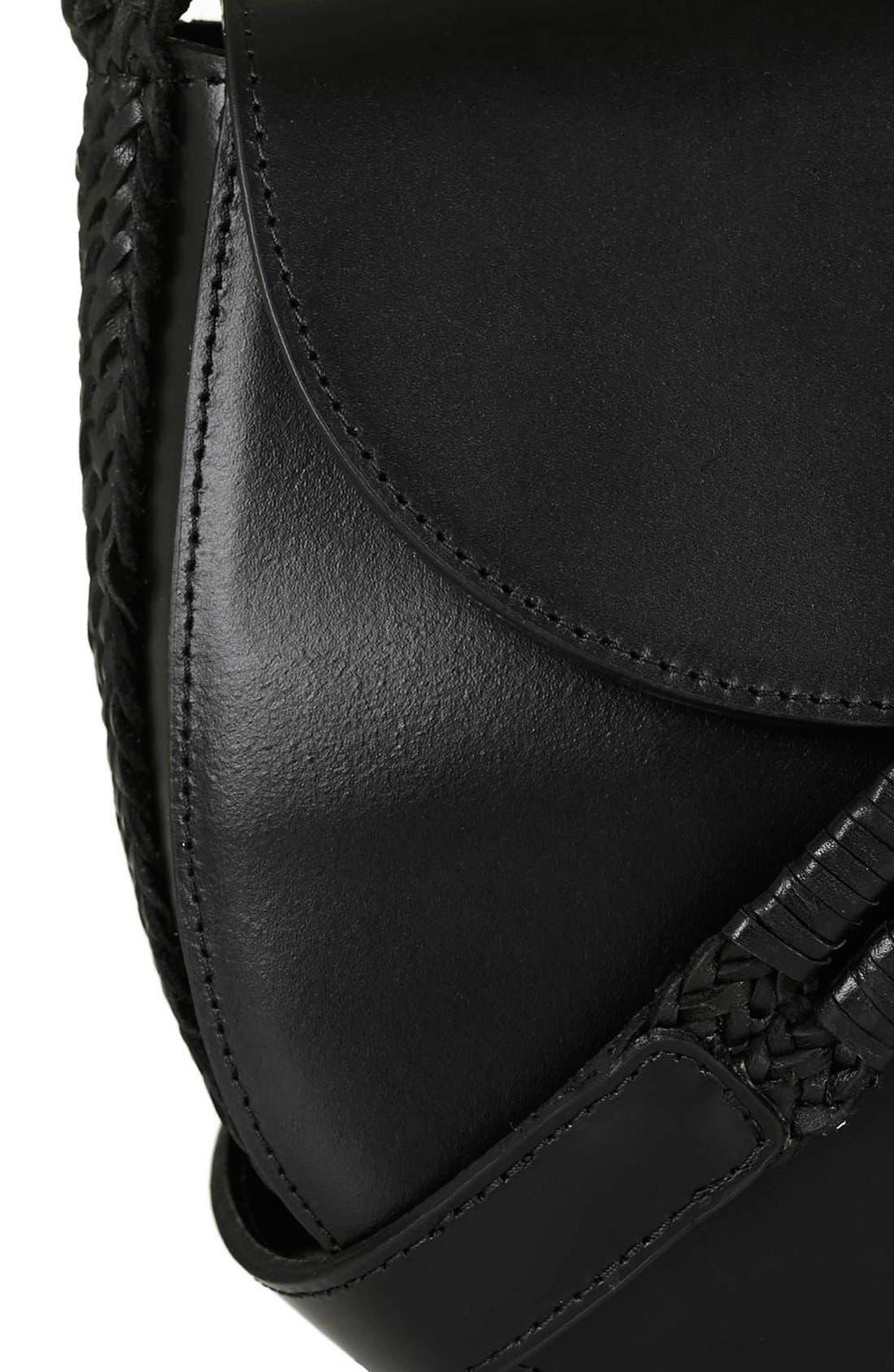 TOPSHOP, Woven Strap Leather Saddle Bag, Alternate thumbnail 4, color, 001