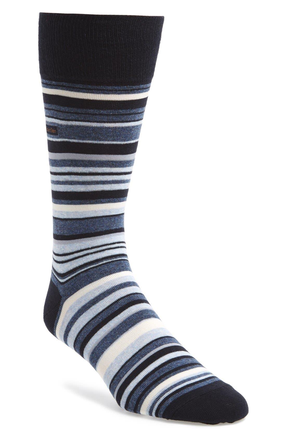 CALVIN KLEIN, Multistripe Emblem Socks, Main thumbnail 1, color, NAVY/ DENIM HEATHER