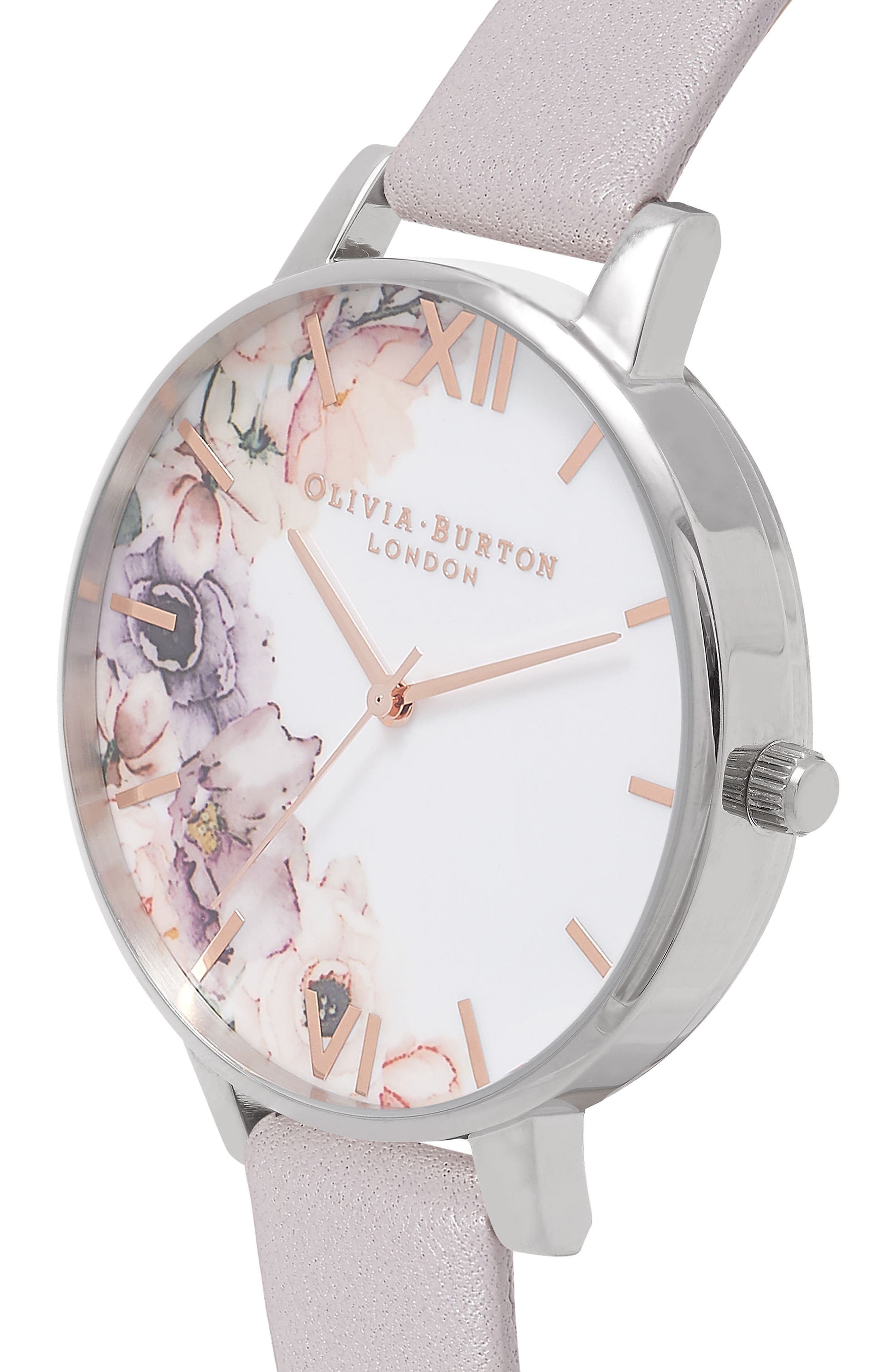 OLIVIA BURTON, Watercolour Florals Leather Strap Watch, 38mm, Alternate thumbnail 6, color, GREY/ WHITE/ FLORAL/ SILVER