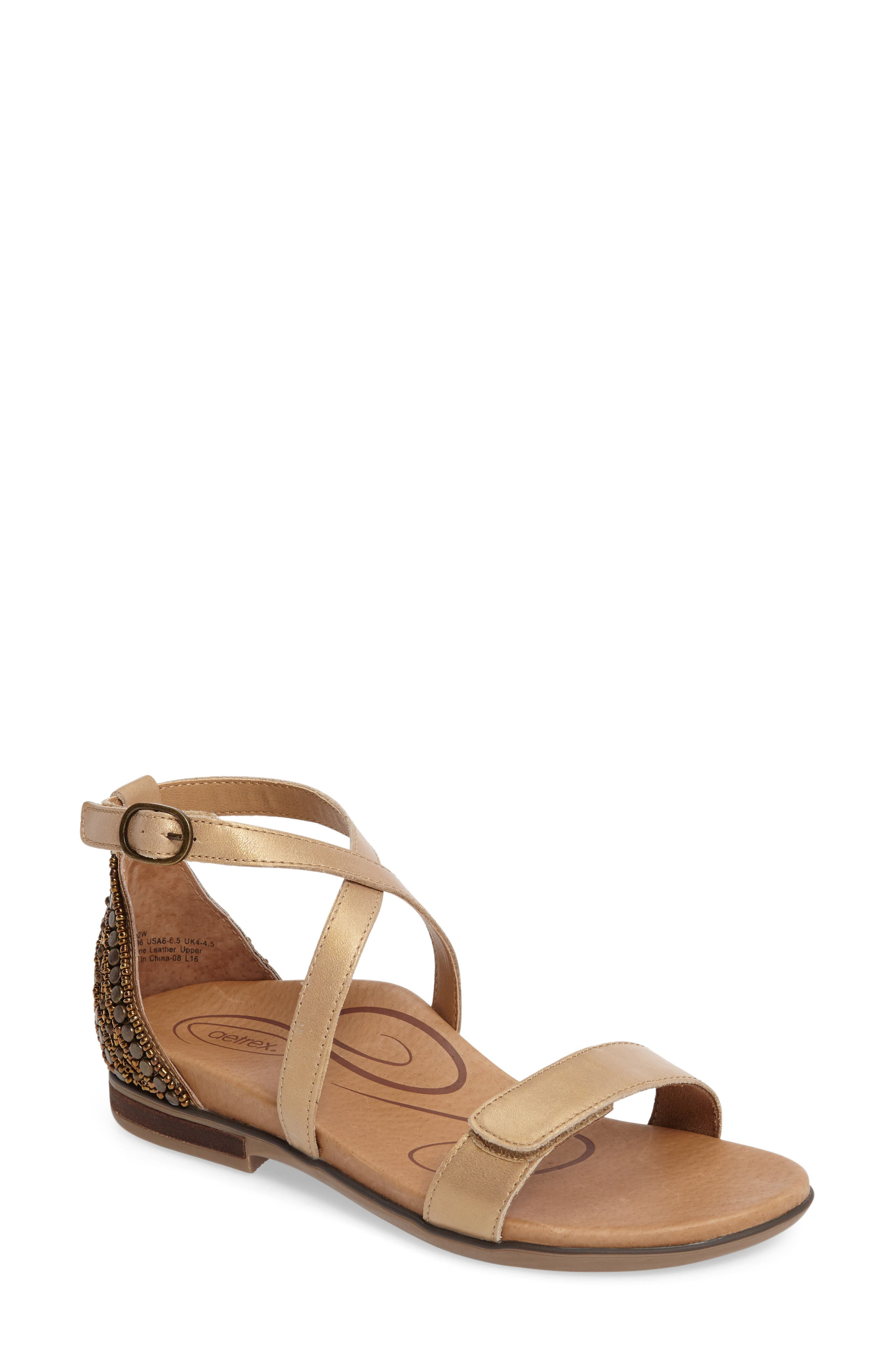AETREX, Brenda Embellished Cross Strap Sandal, Main thumbnail 1, color, STONE LEATHER
