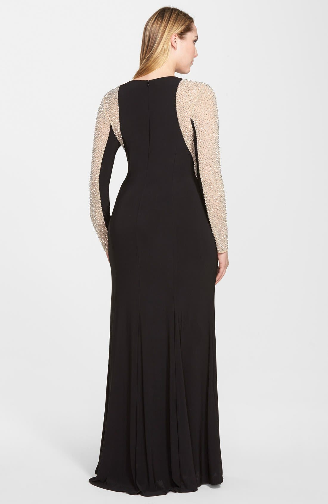 XSCAPE, Embellished Jersey Gown, Alternate thumbnail 8, color, BLACK/ NUDE/ SILVER