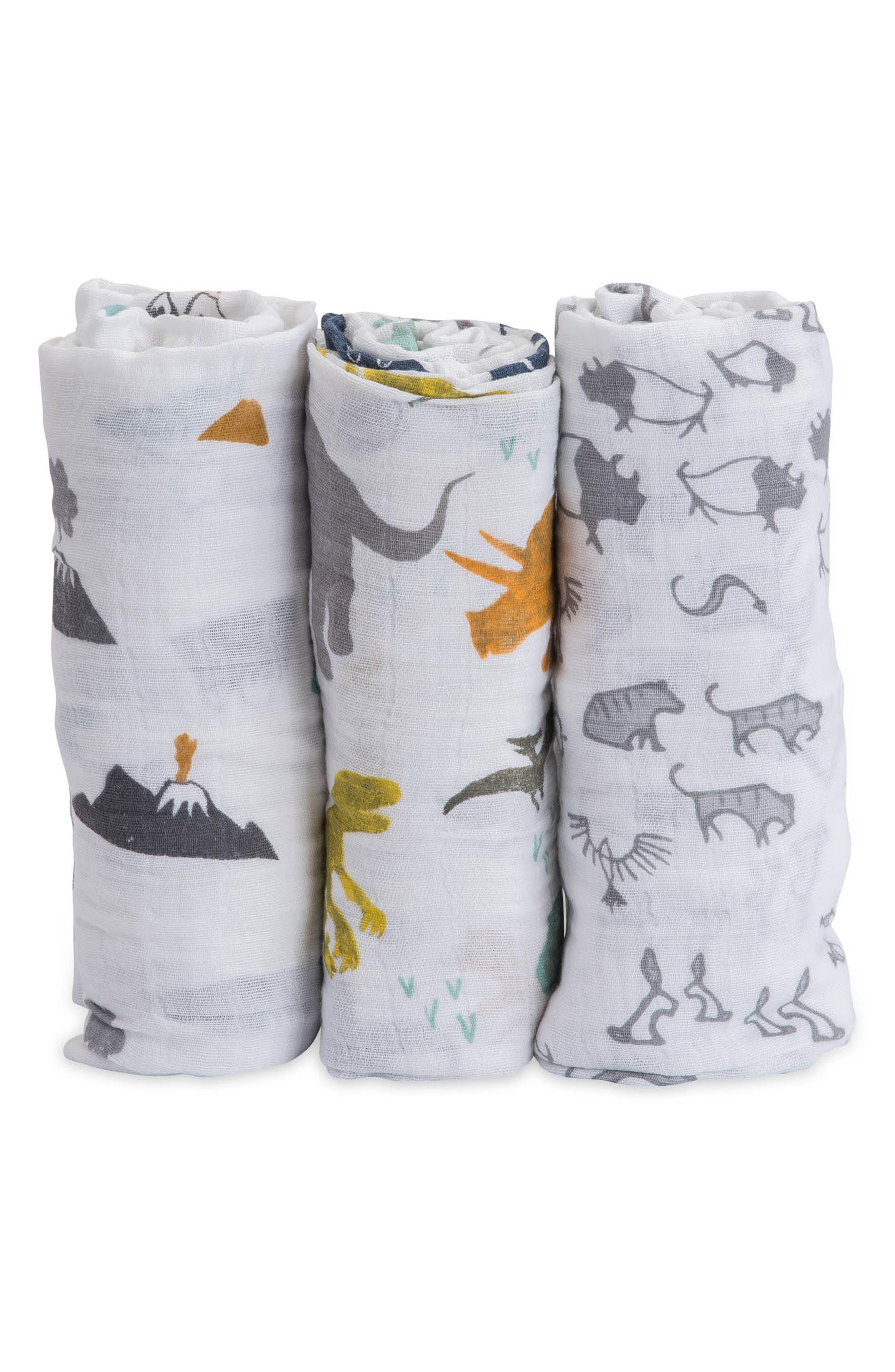 LITTLE UNICORN, 3-Pack Cotton Muslin Blankets, Main thumbnail 1, color, DINO FRIENDS