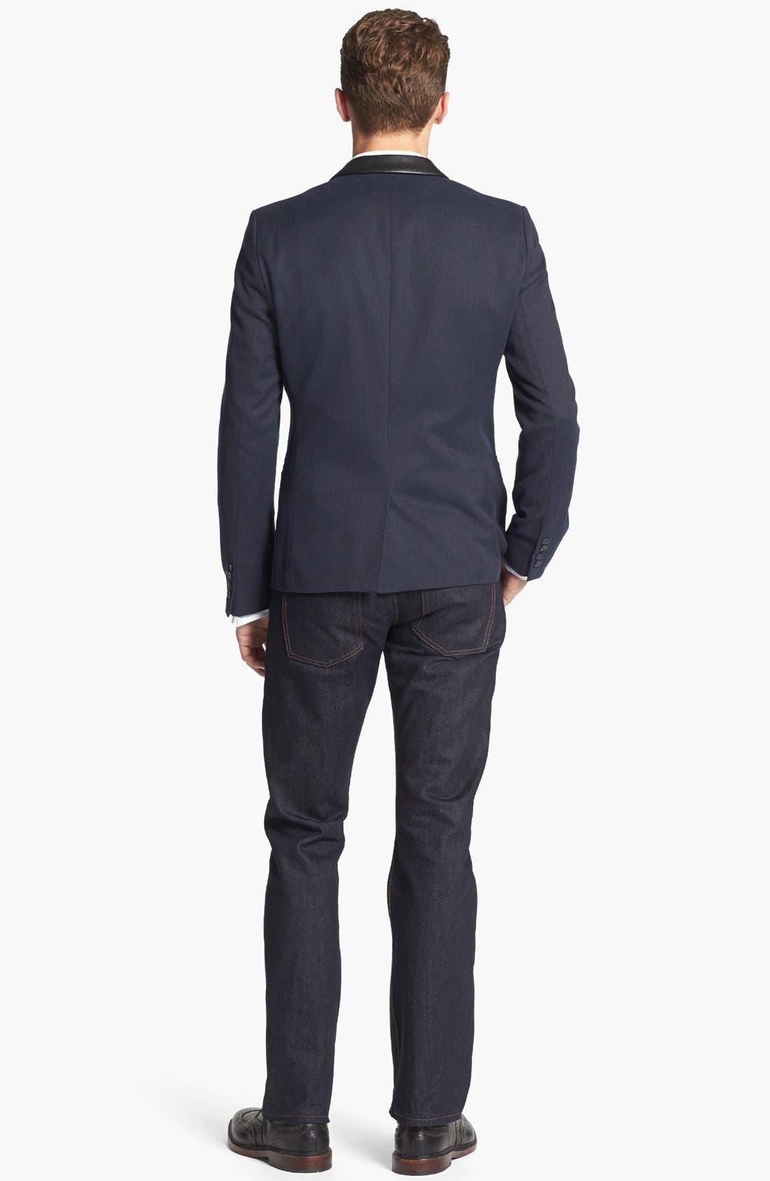 BOSS, Jameson Slim Fit Diamond Weave French Cuff Tuxedo Shirt, Alternate thumbnail 6, color, 120