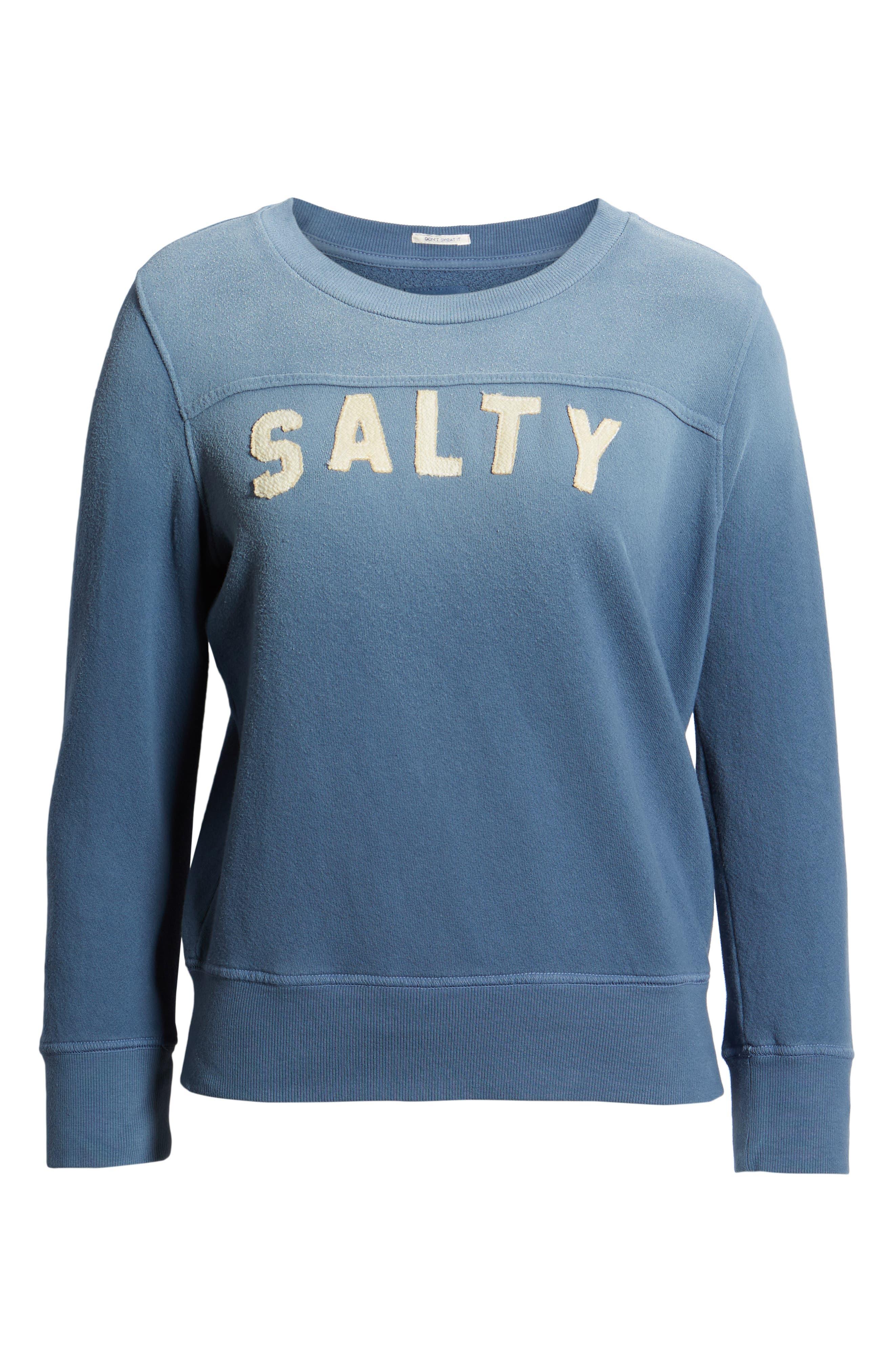 MOTHER, 1/2 & 1/2 Sweatshirt, Alternate thumbnail 6, color, SALTY