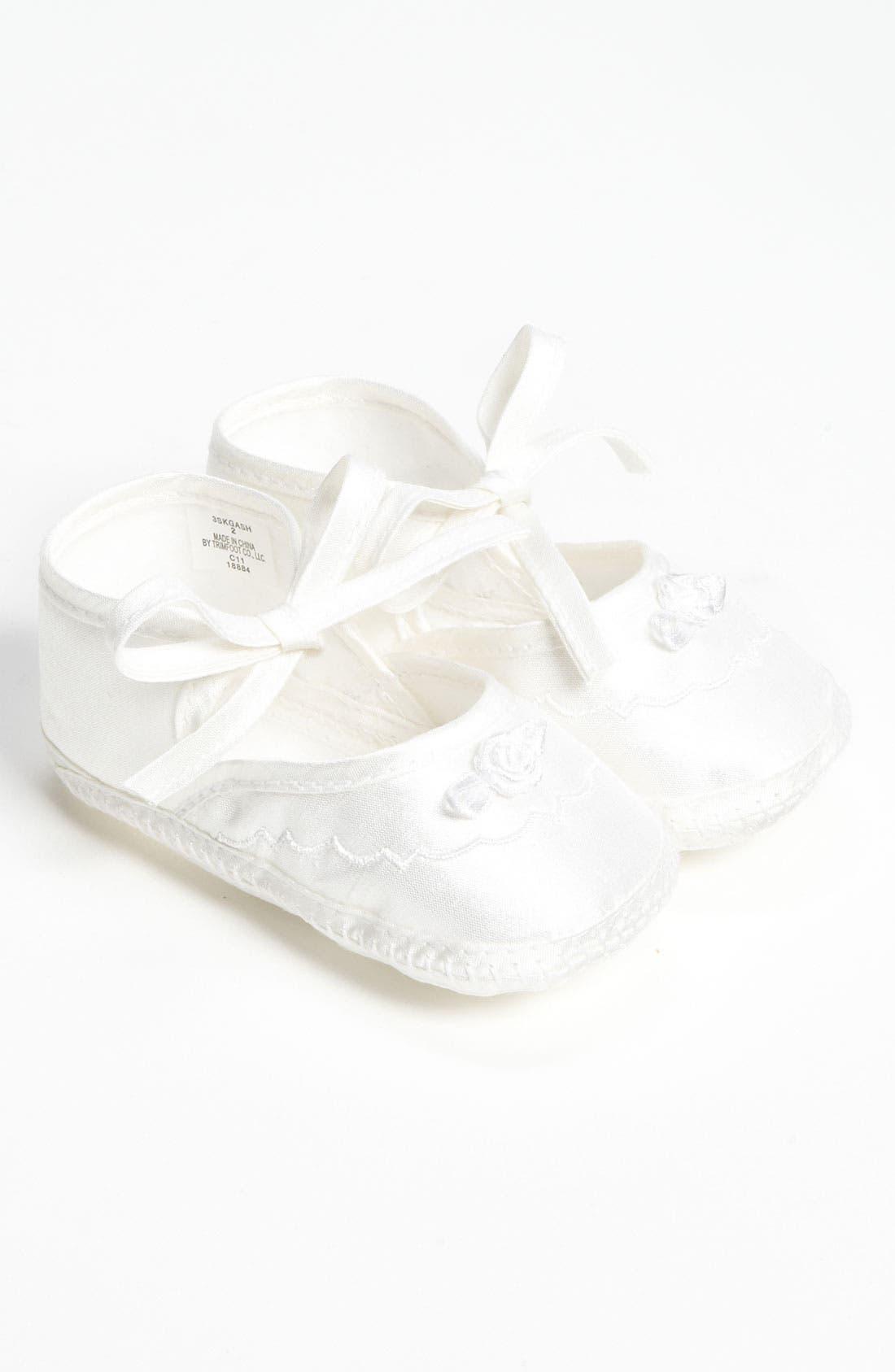 LITTLE THINGS MEAN A LOT, Silk Dupioni Shoe, Main thumbnail 1, color, WHITE