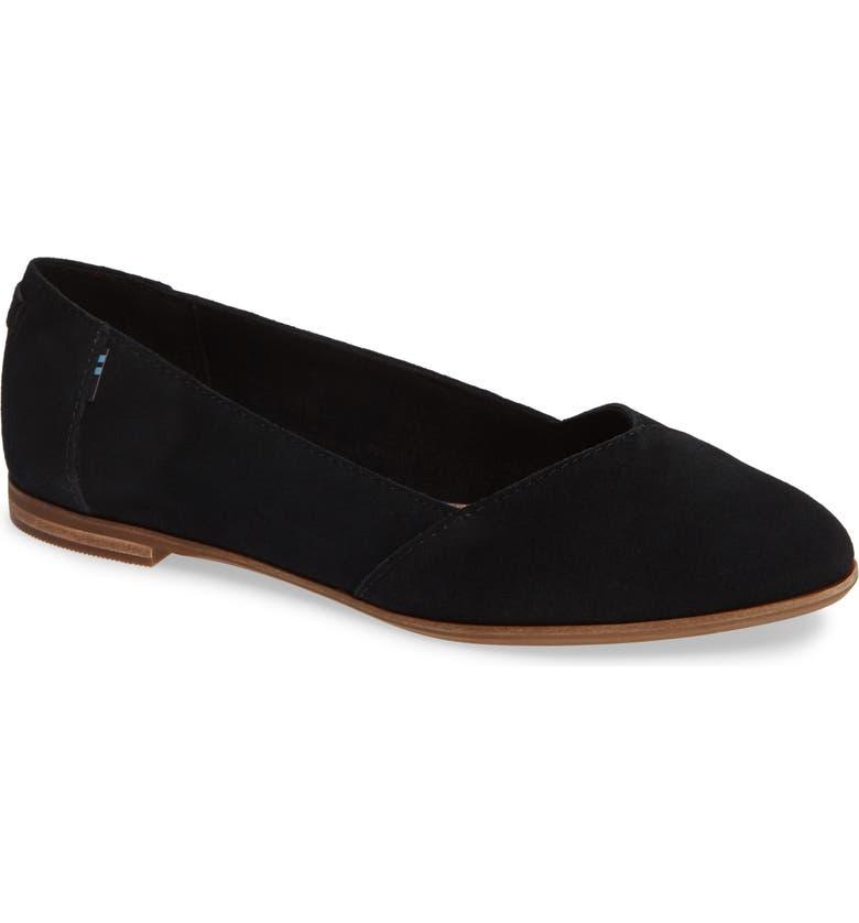 Toms Julie Almond Toe Flat In Black Suede