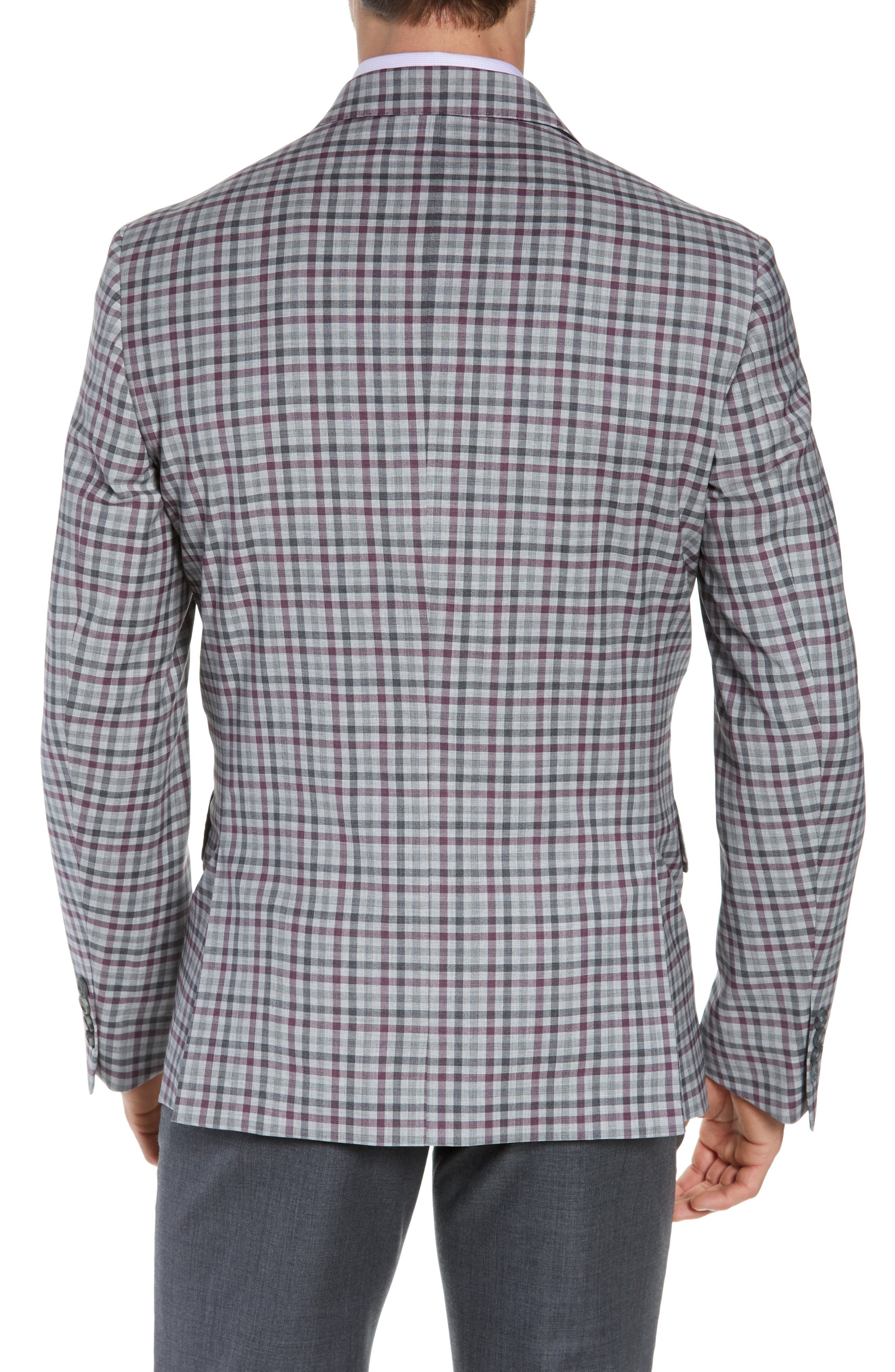 JOHN W. NORDSTROM<SUP>®</SUP>, Traditional Fit Check Sport Coat, Alternate thumbnail 2, color, GREY ALLOY BURGUNDY PLAID