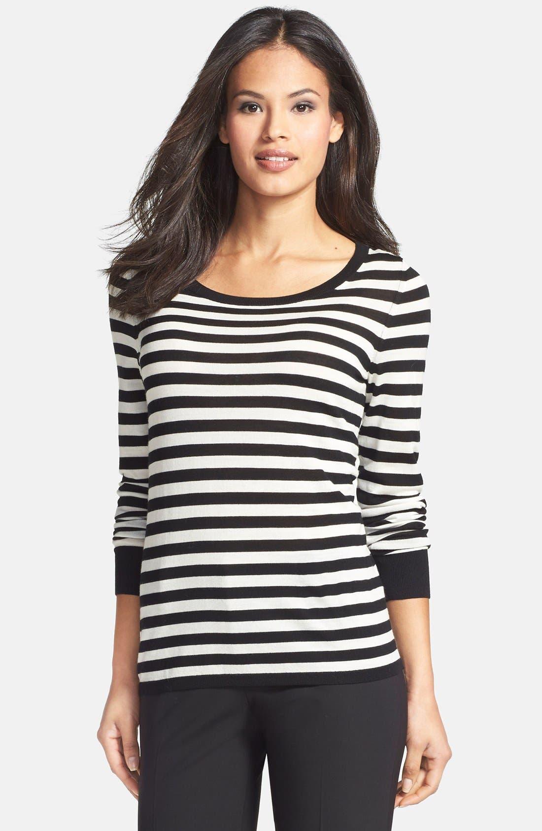 BOSS, Stripe Wool Sweater, Main thumbnail 1, color, 006