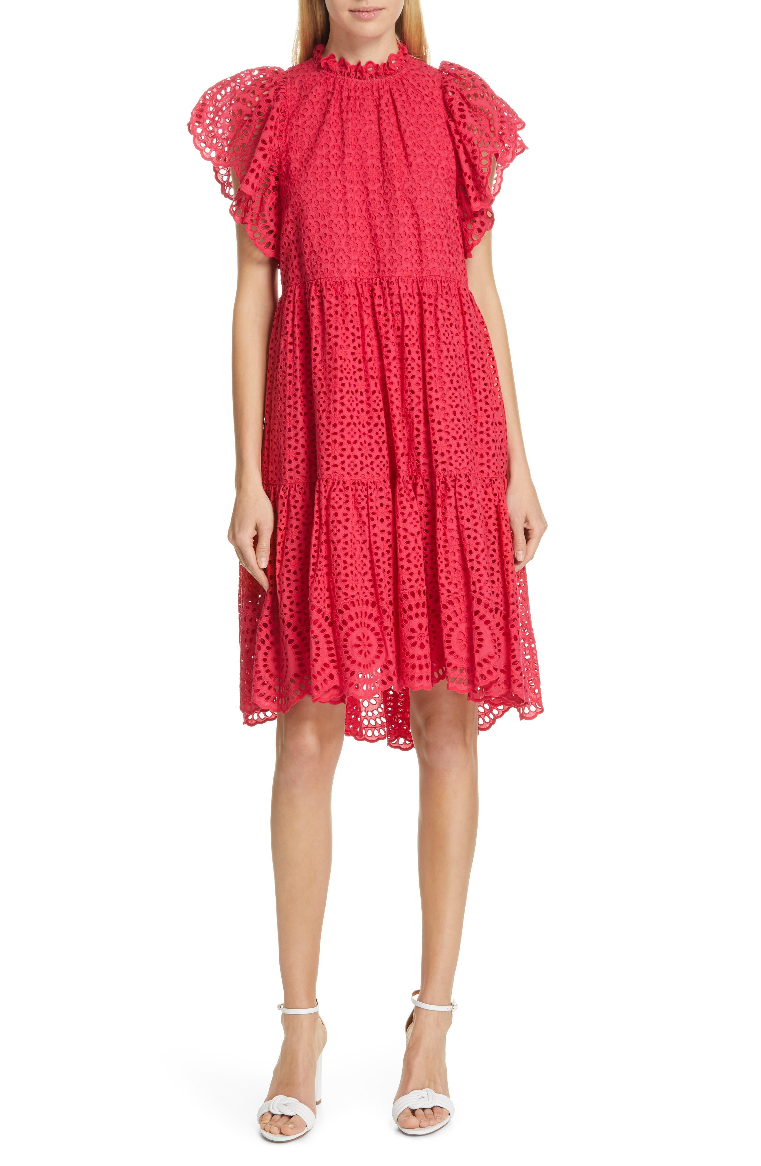 ULLA JOHNSON Norah Eyelet Dress, Main, color, FUCHSIA