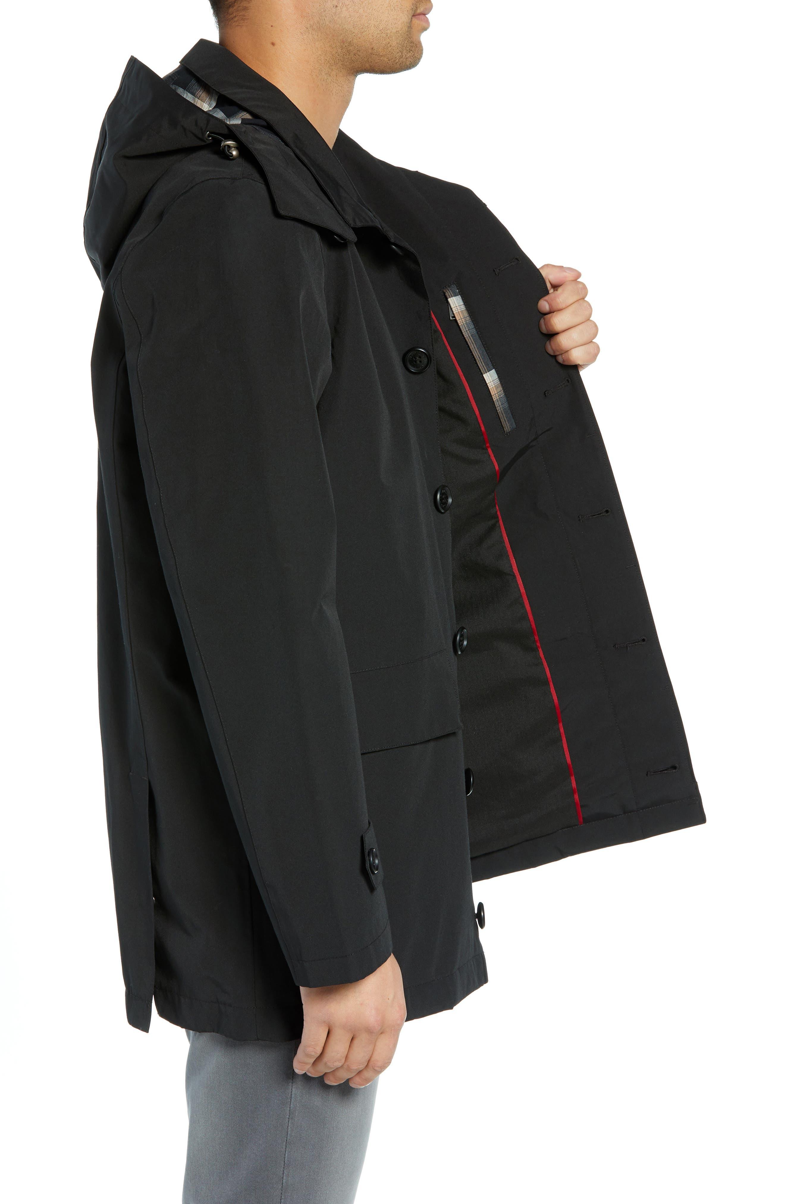 PENDLETON, Harbor Cloth Seattle Raincoat, Alternate thumbnail 4, color, BLACK