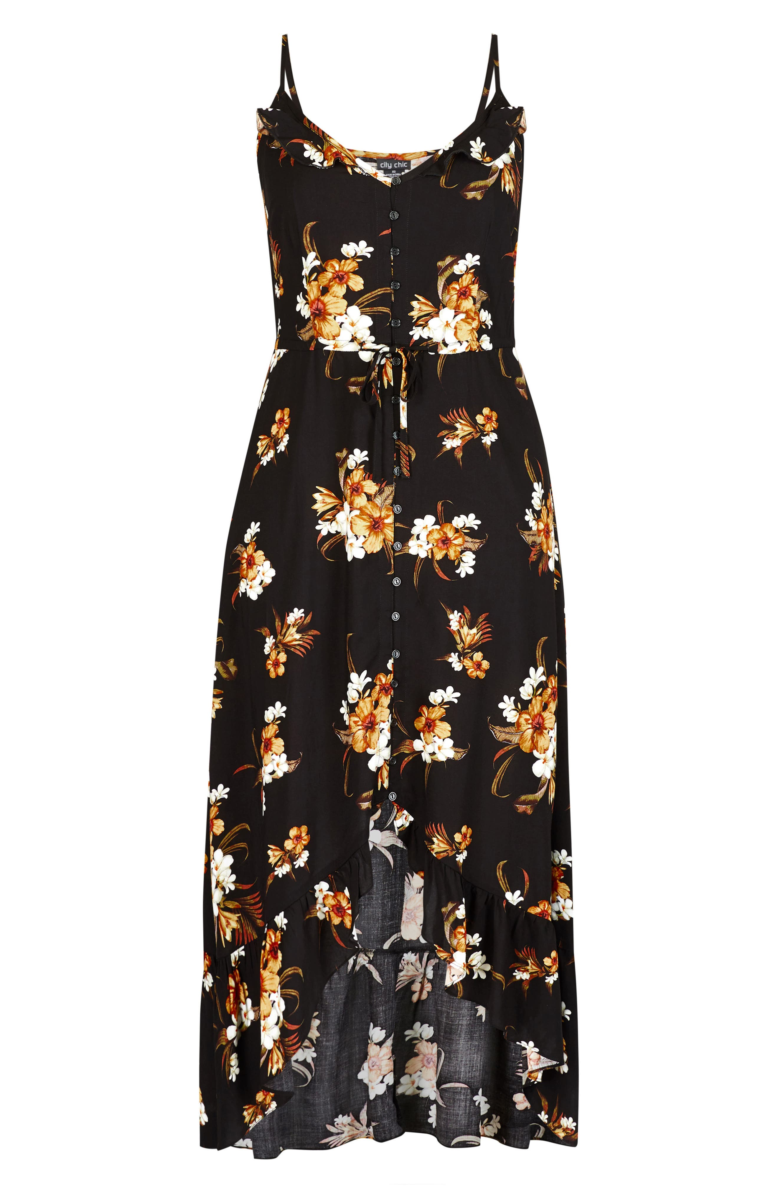 CITY CHIC, Aruba Floral Maxi Dress, Alternate thumbnail 3, color, BLACK PRINT