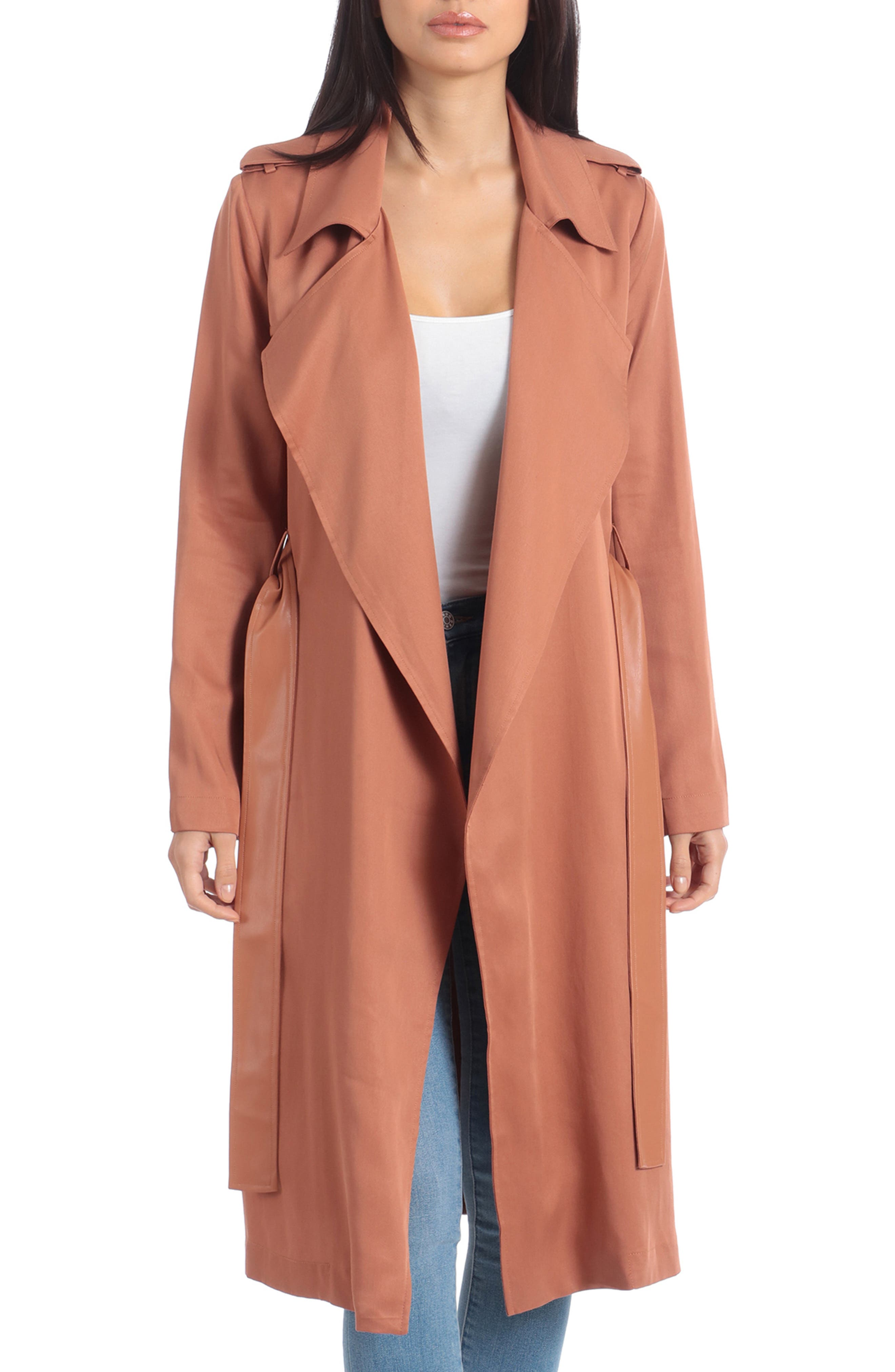 BADGLEY MISCHKA COLLECTION, Badgley Mischka Faux Leather Trim Long Trench Coat, Main thumbnail 1, color, CEDAR