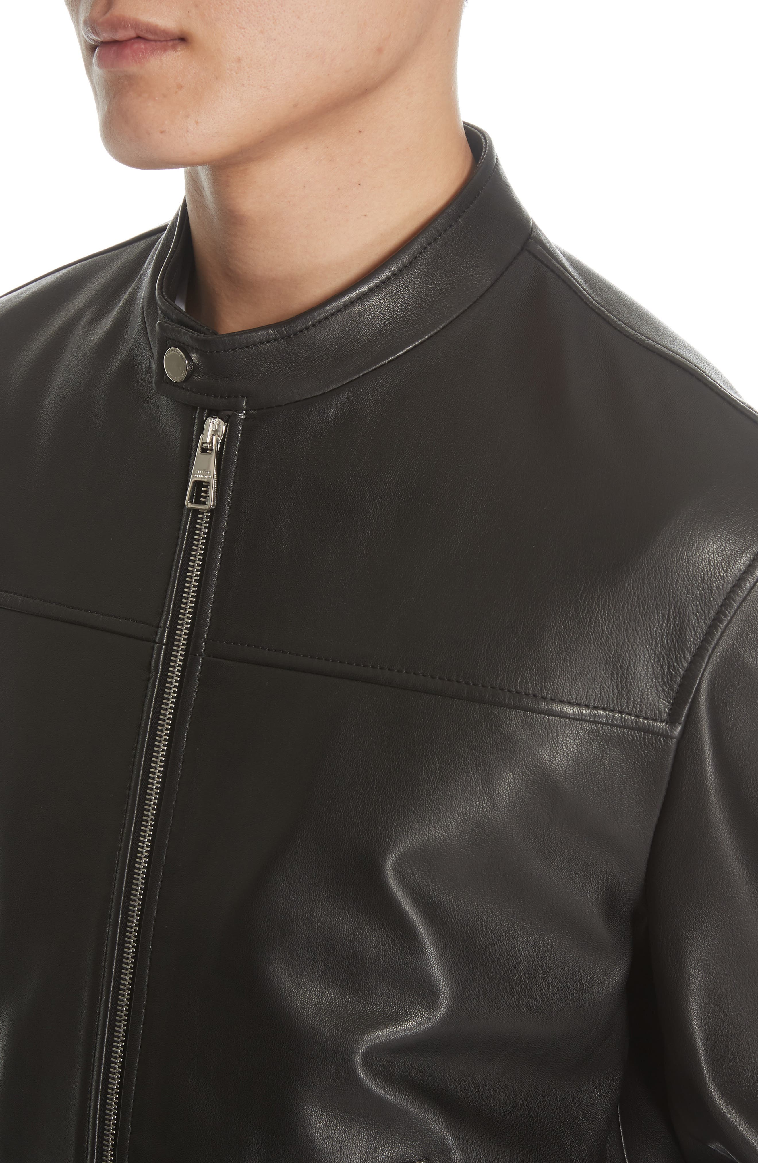 VERSACE COLLECTION, Lambskin Leather Jacket, Alternate thumbnail 4, color, 001